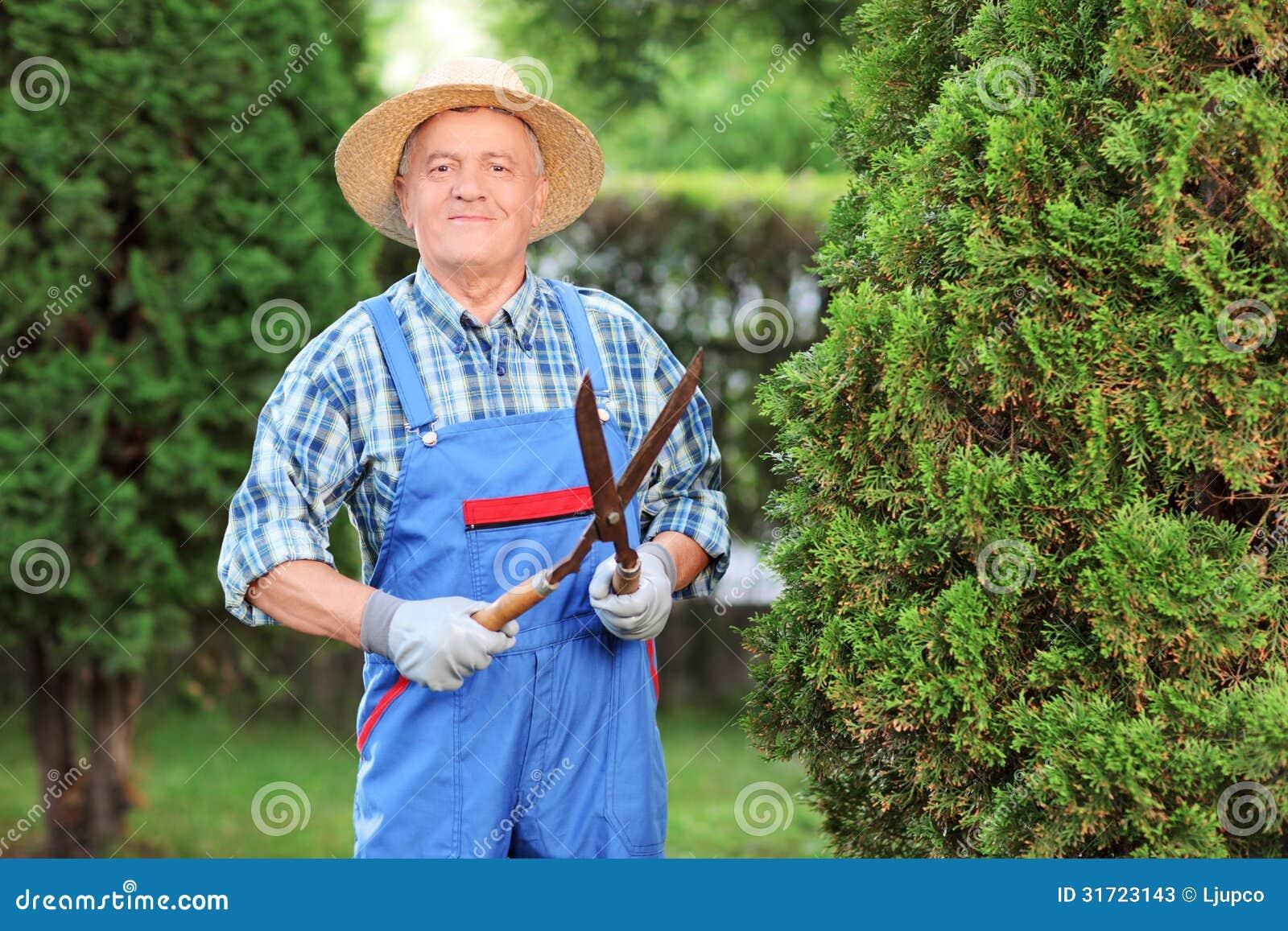 Come Recintare Un Giardino uomo che sistema un recintare un giardino immagine stock