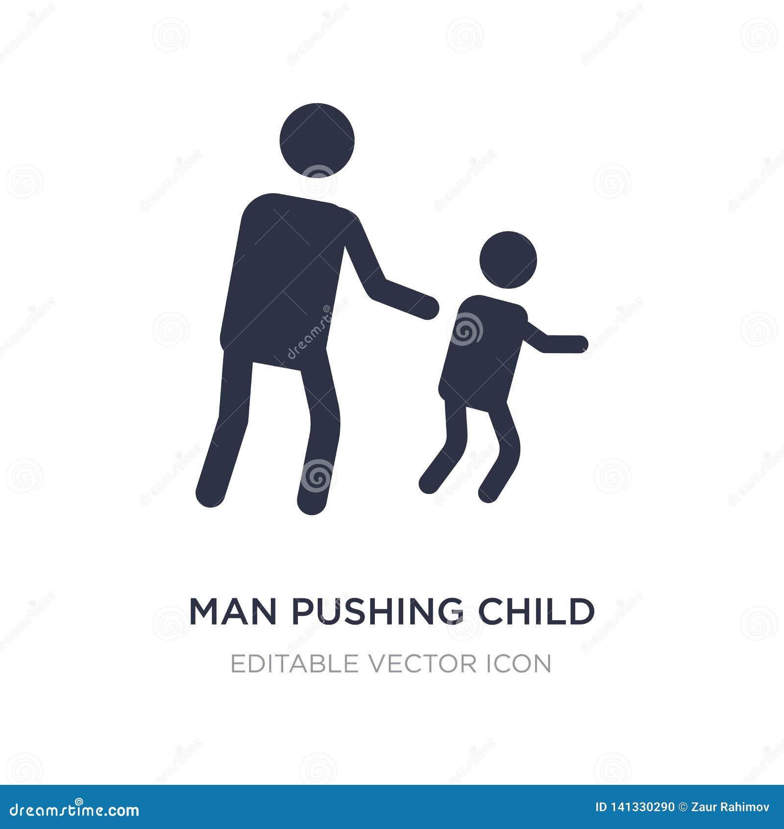 Uomo che spinge l icona del bambino su fondo bianco Illustrazione semplice dell elemento dal concetto della gente