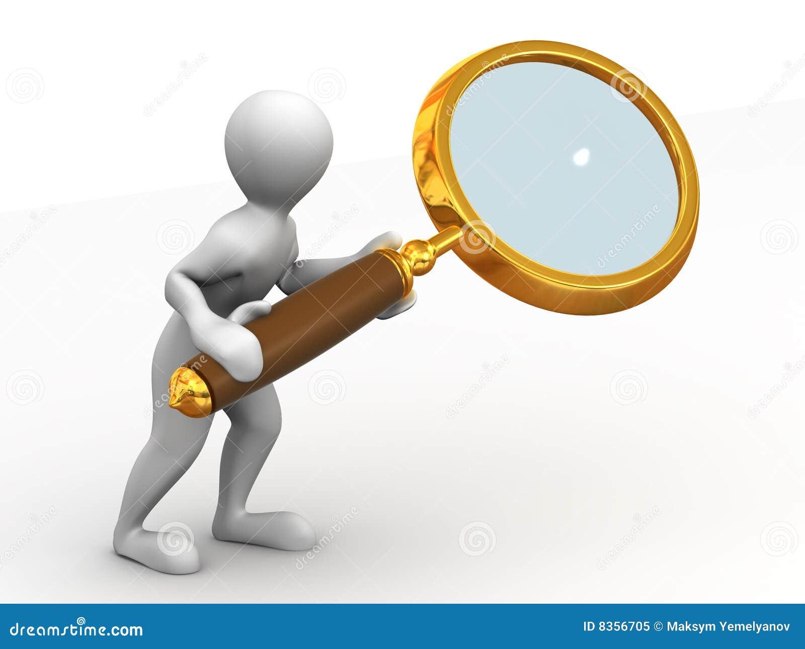 Uomo con la lente di ingrandimento ricerca 3d illustrazione di stock immagine 8356705 - Specchio con lente di ingrandimento ...
