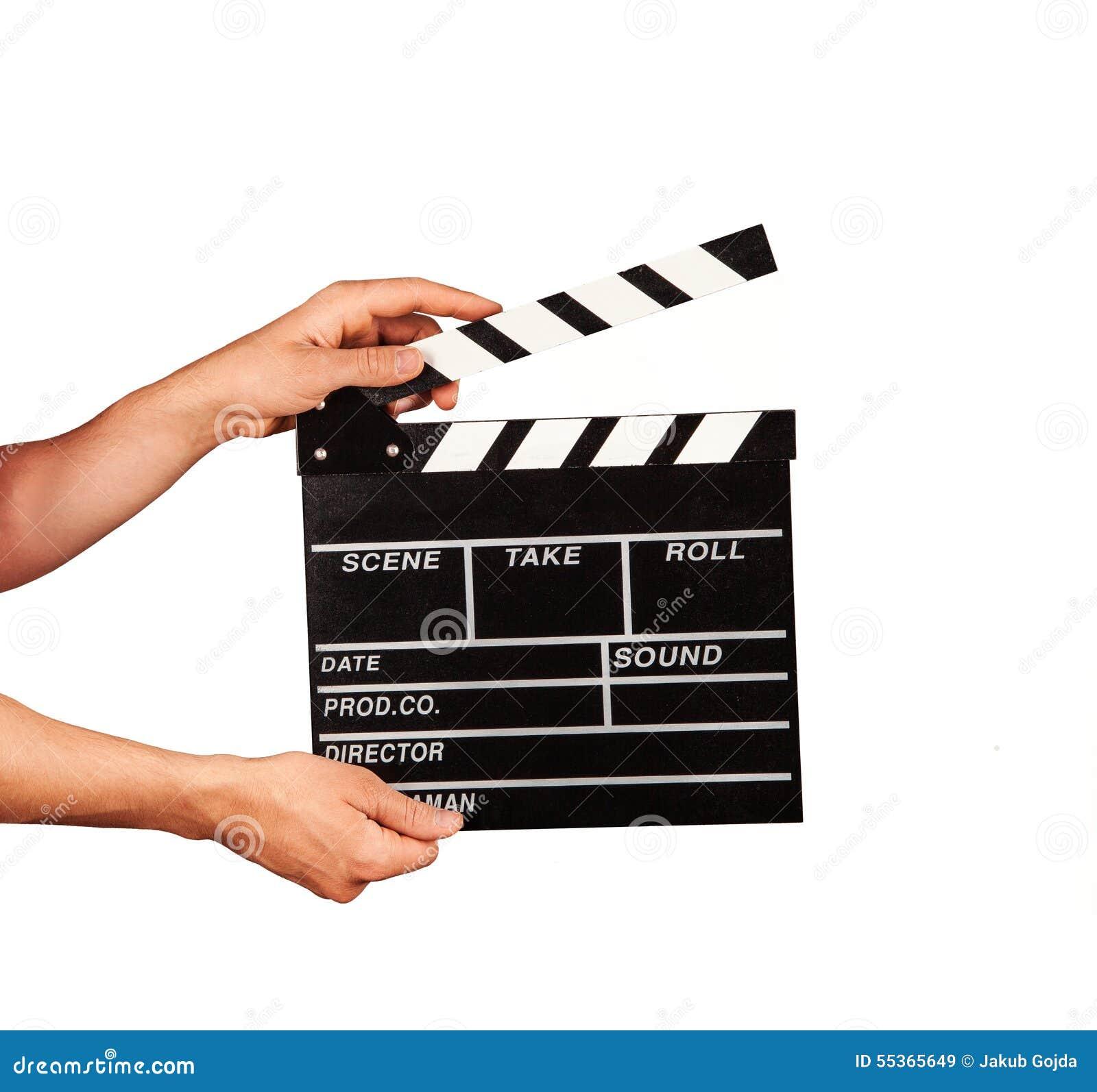 Uomo con la valvola del film su fondo bianco