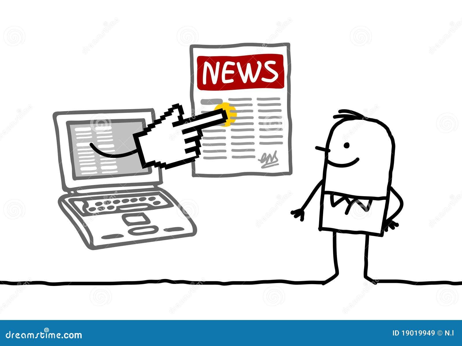 Uomo con le notizie in linea