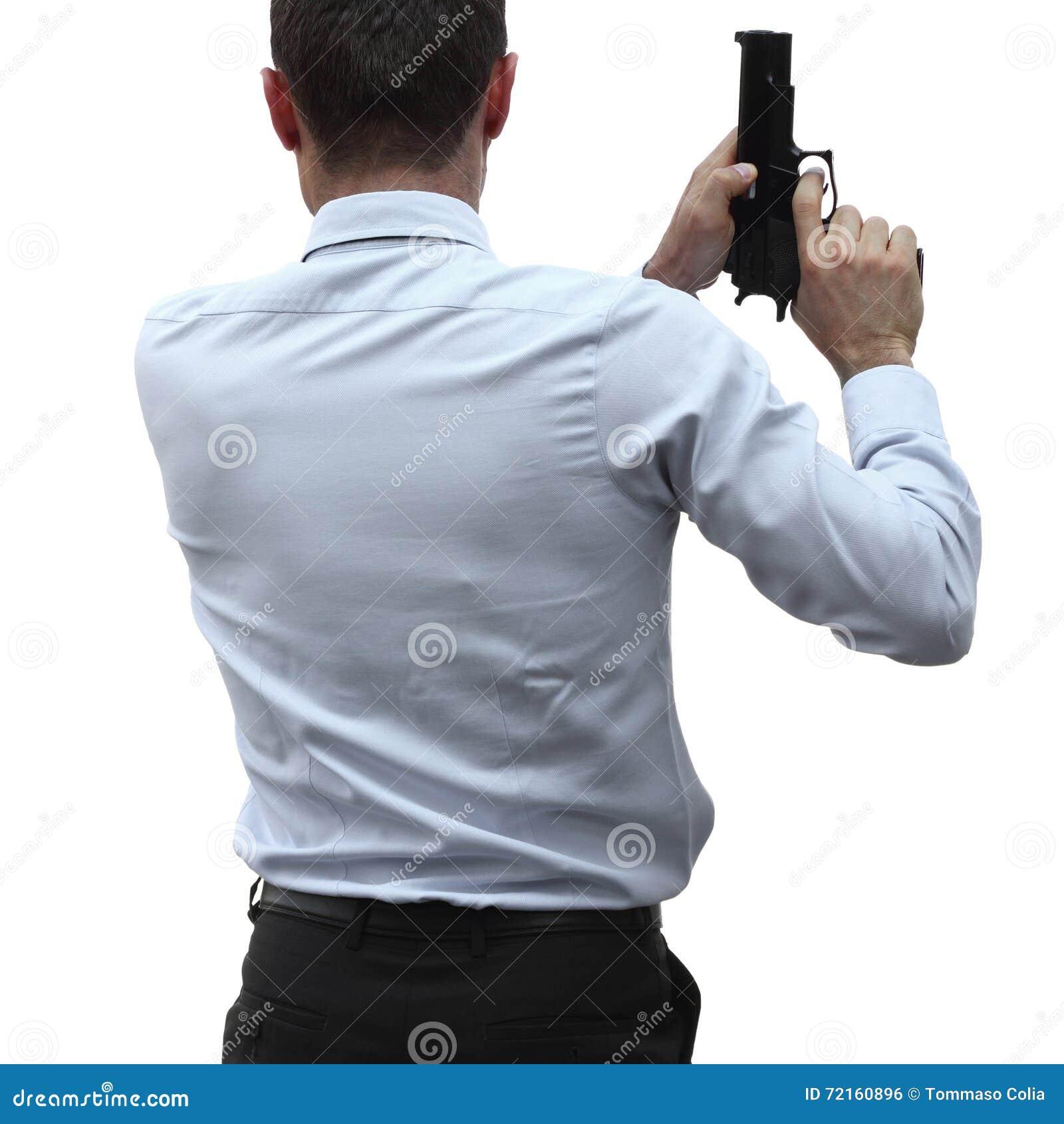 Uomo d affari aggressivo con una pistola