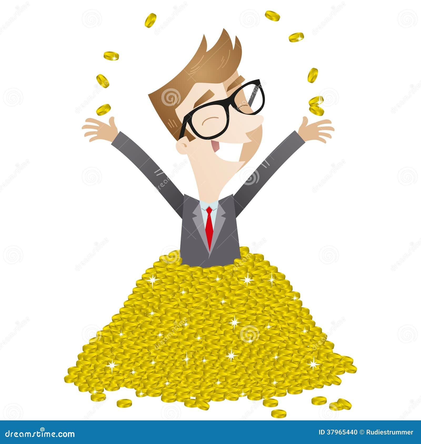 Uomo d affari che bagna nelle monete