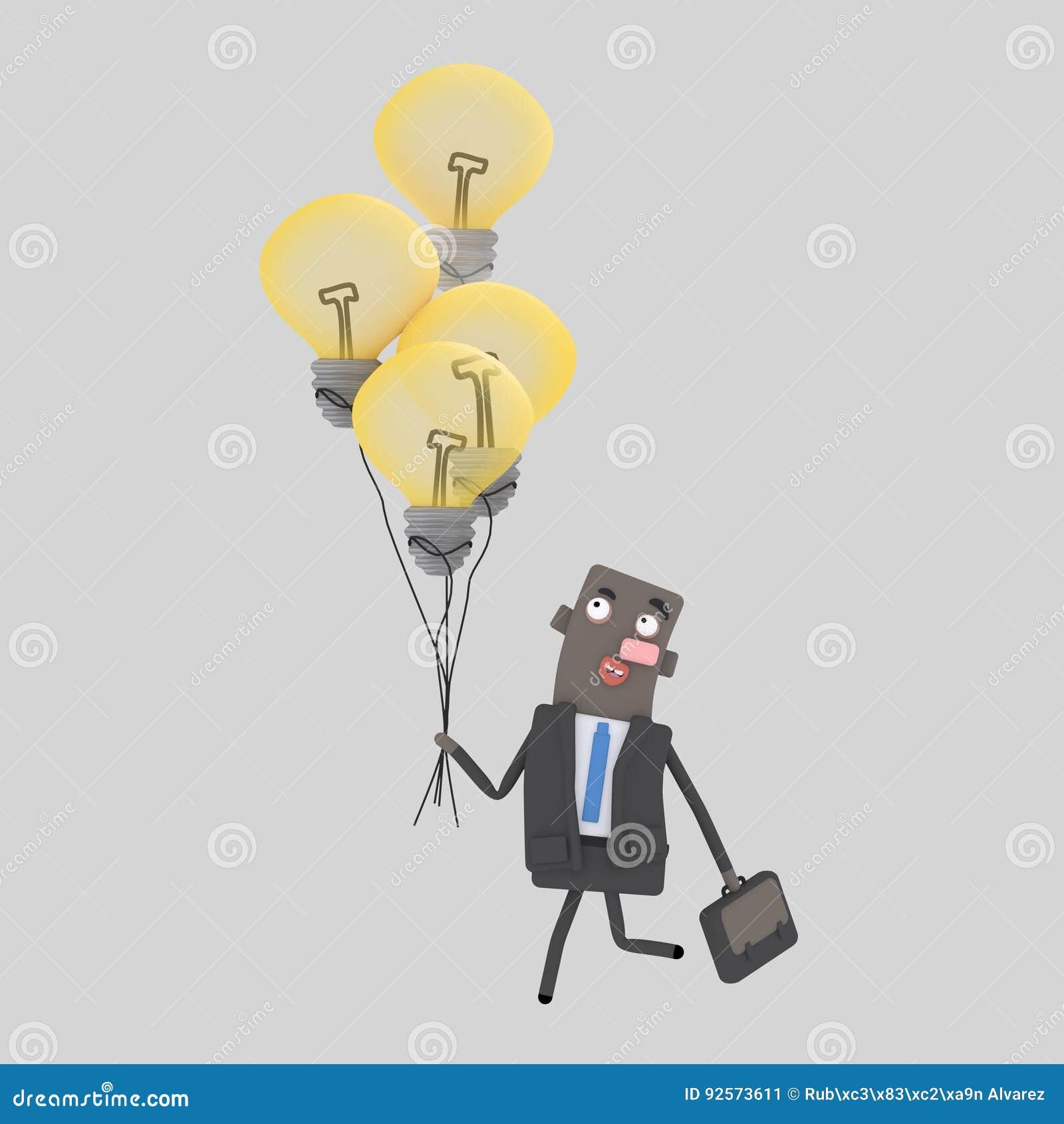 Uomo d affari che cammina con le sue grandi idee
