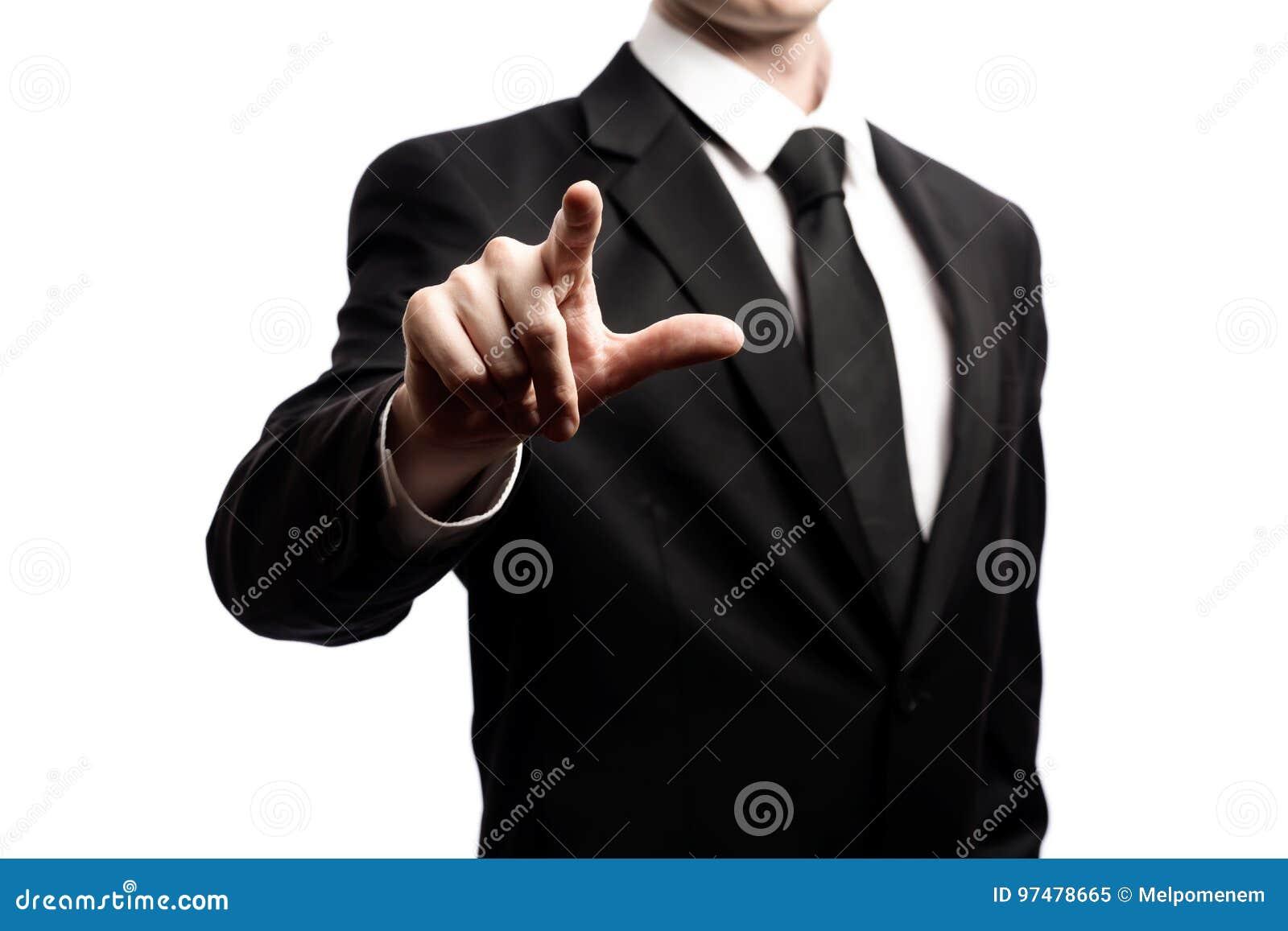 Uomo d affari che indica il suo dito su un fondo bianco