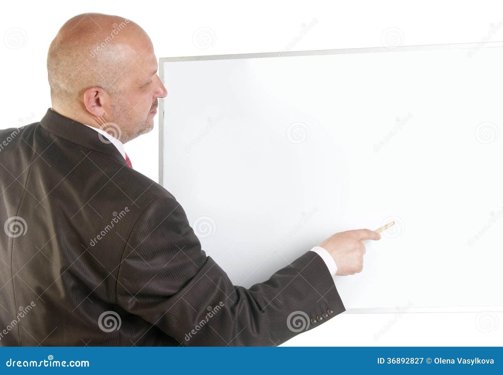 Download Uomo D'affari Che Mostra Insegna In Bianco. Immagine Stock - Immagine di taglio, esecutivo: 36892827