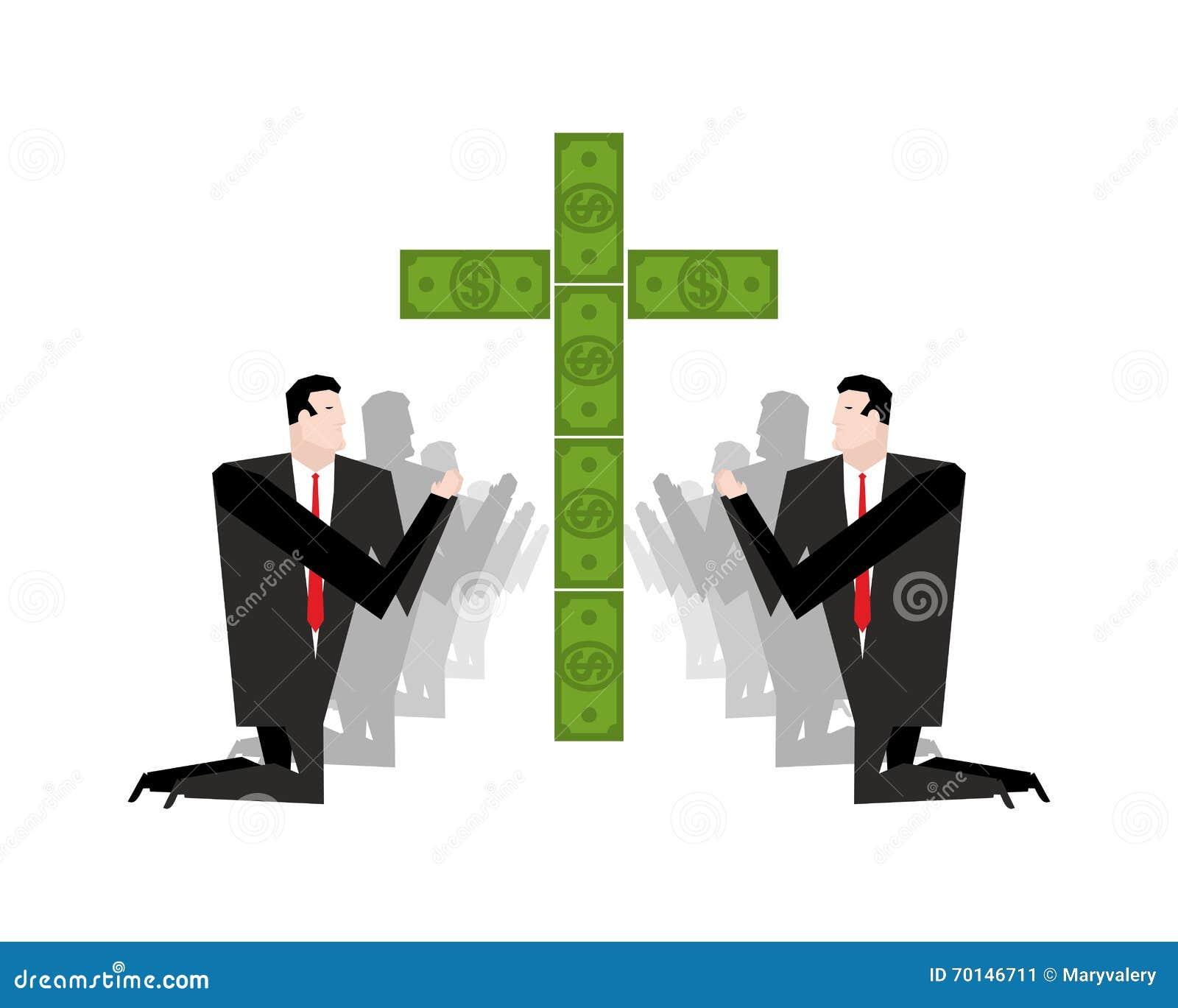 Uomo D Affari Che Prega Per I Soldi Adorazione Dei Dollari I