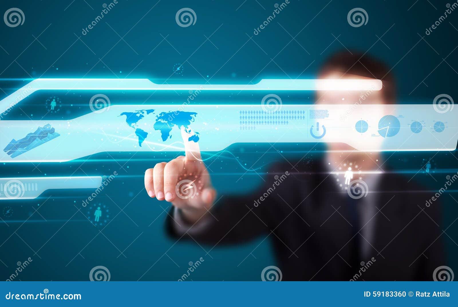 Uomo d affari che preme tipo alta tecnologia di bottoni moderni
