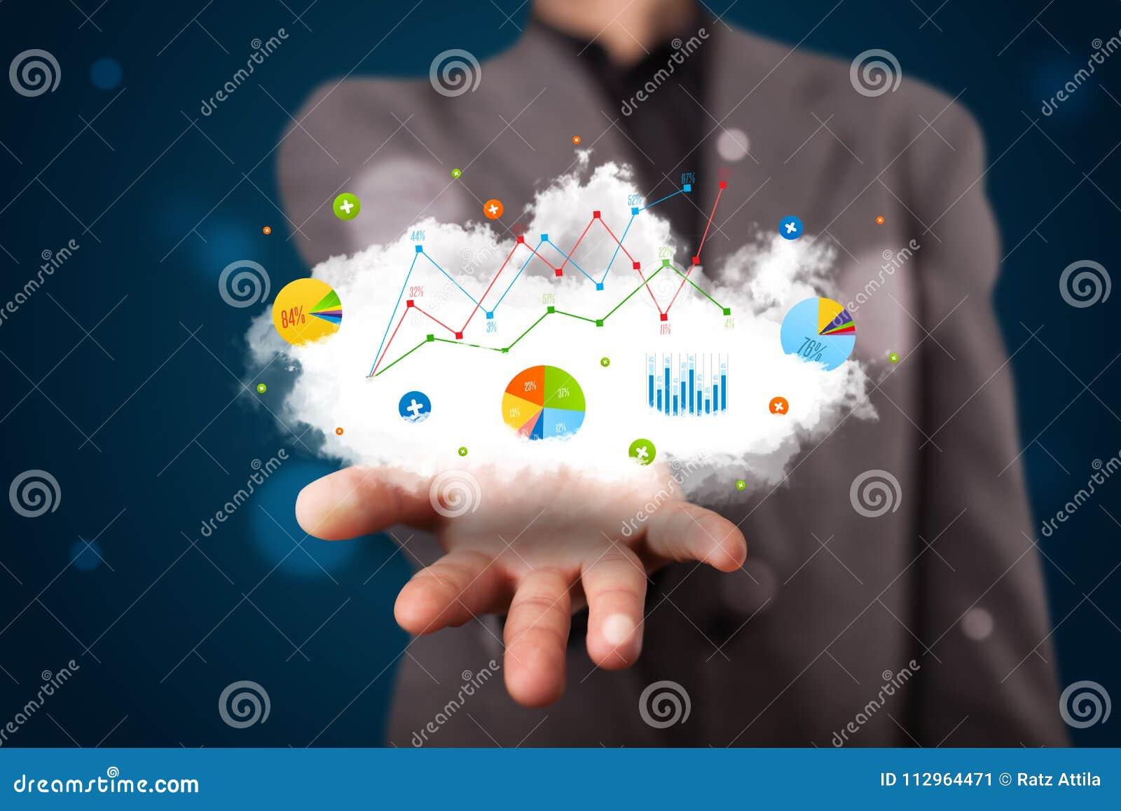Uomo d affari che presenta nuvola con i grafici ed icone e simboli del grafico