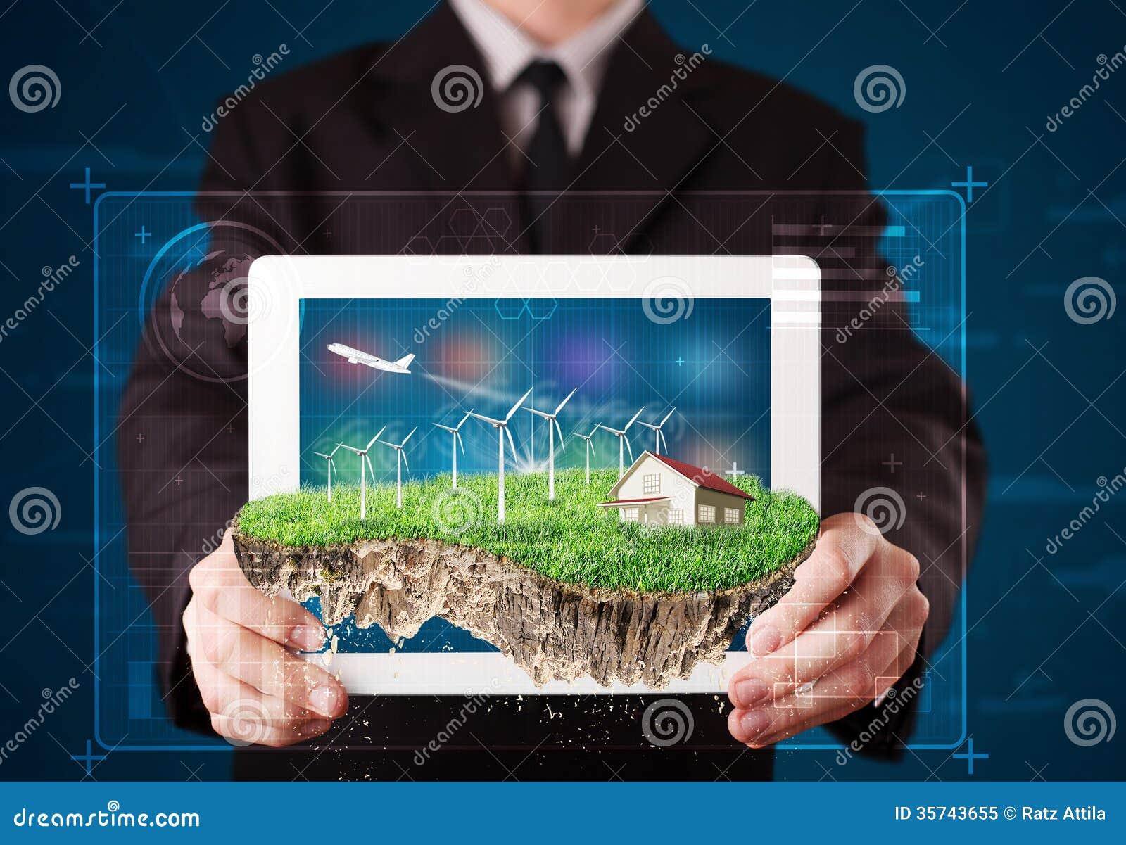 Uomo d affari che presenta una terra perfetta di ecologia con una casa e w