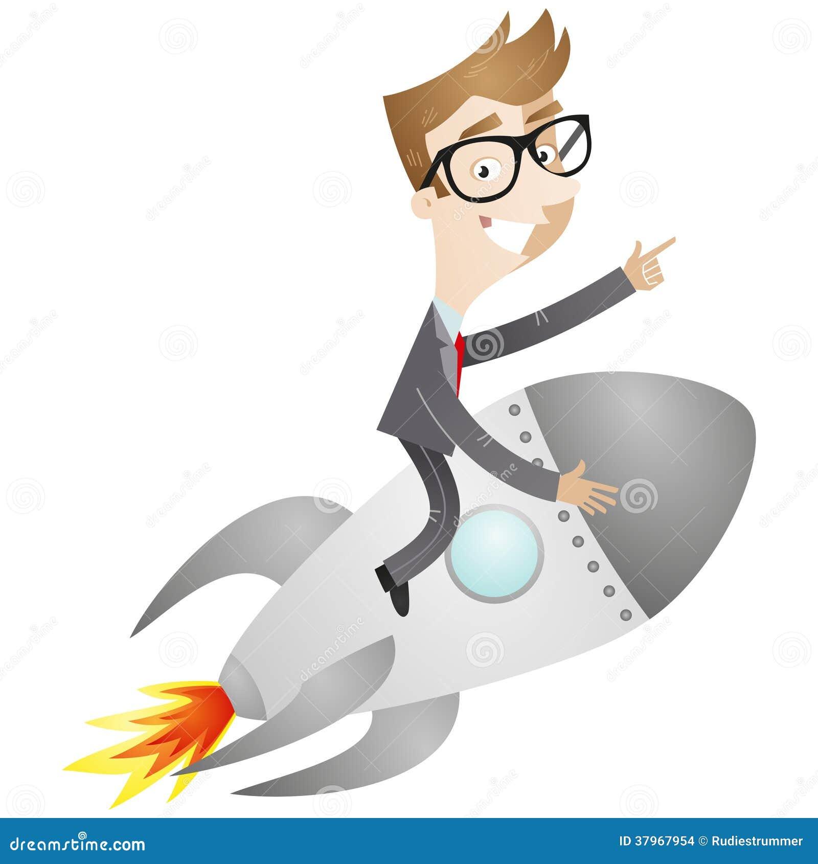 Uomo d 39 affari che si siede sul razzo illustrazione - Immagini stampabili a razzo ...