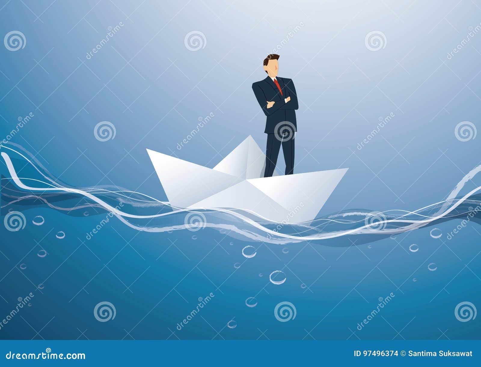 Uomo d affari che sta con le armi dell incrocio su un vettore di carta della barca, concetto di affari