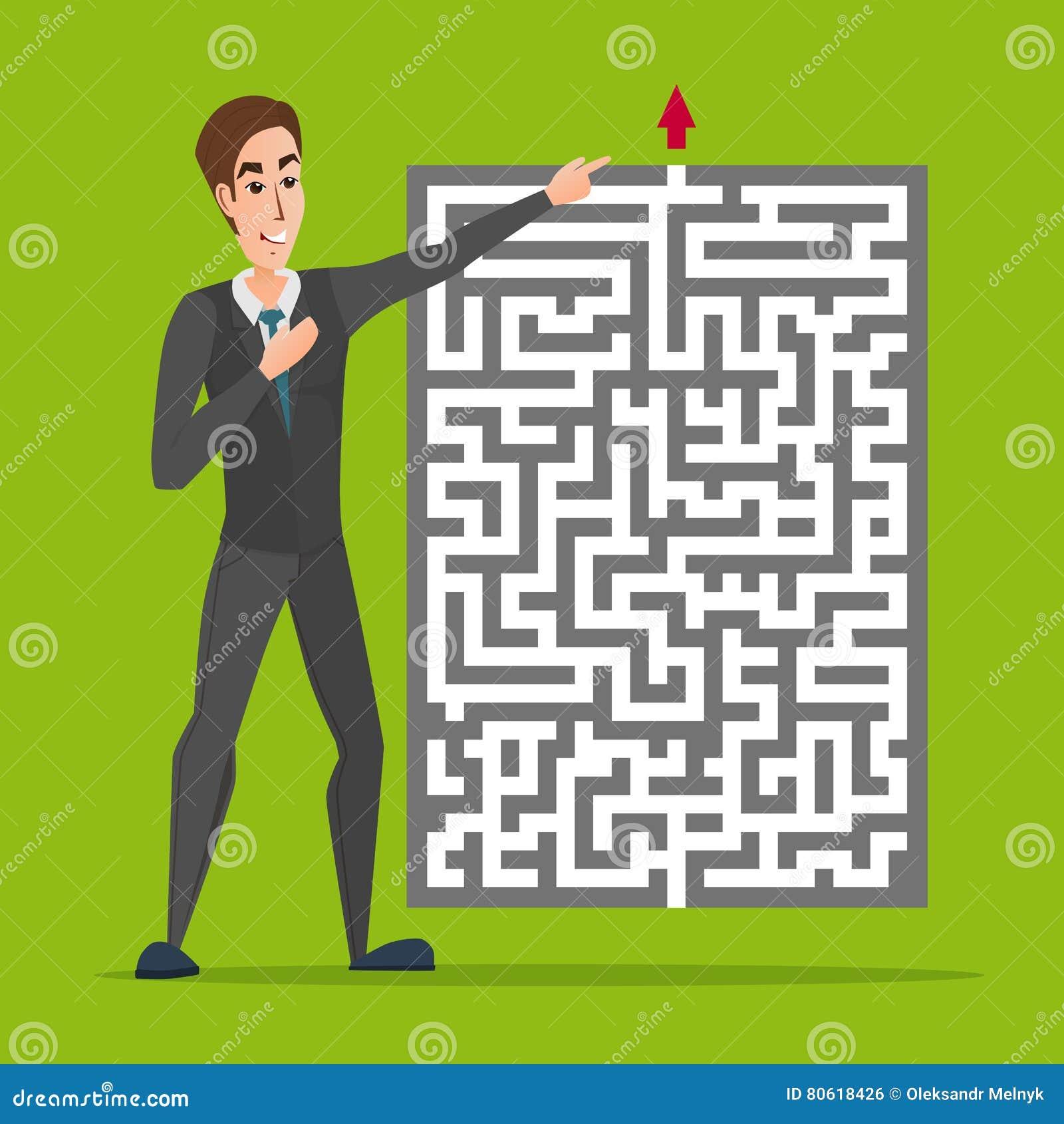 Uomo d affari che sta davanti ad un labirinto con la rappresentazione rossa della freccia