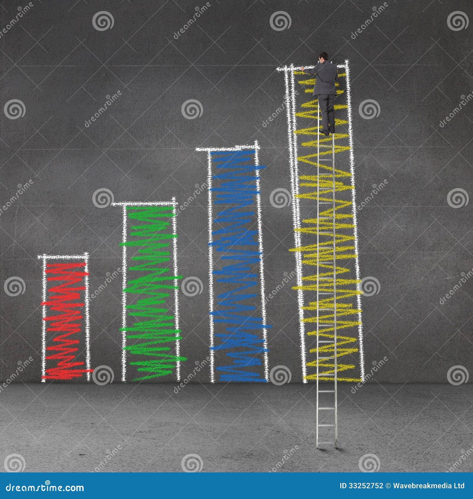 ... una scala gigante e su un istogramma di disegno su una parete grigia