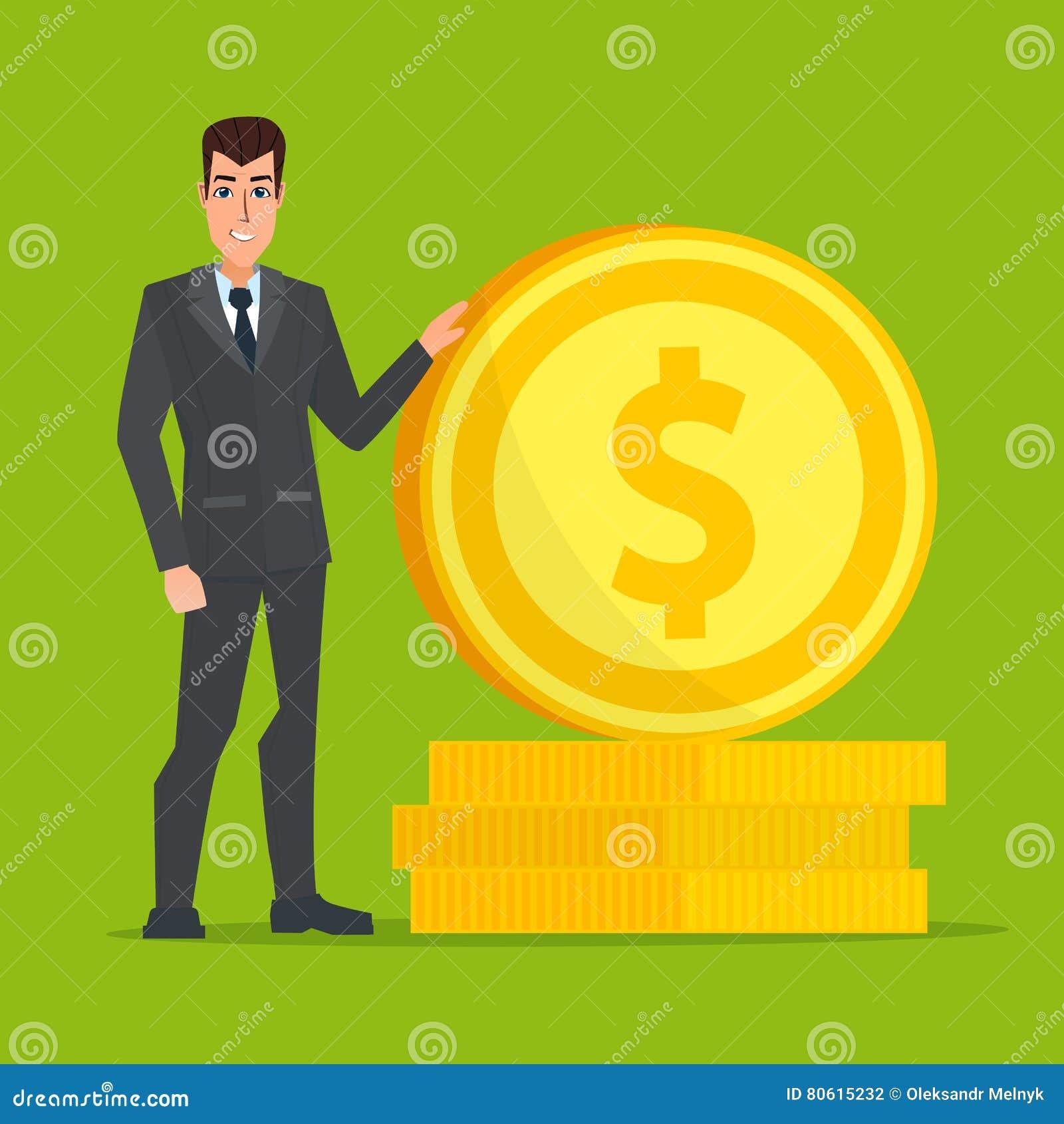 Uomo d affari che sta vicino ad una moneta di oro enorme Vettore creativo