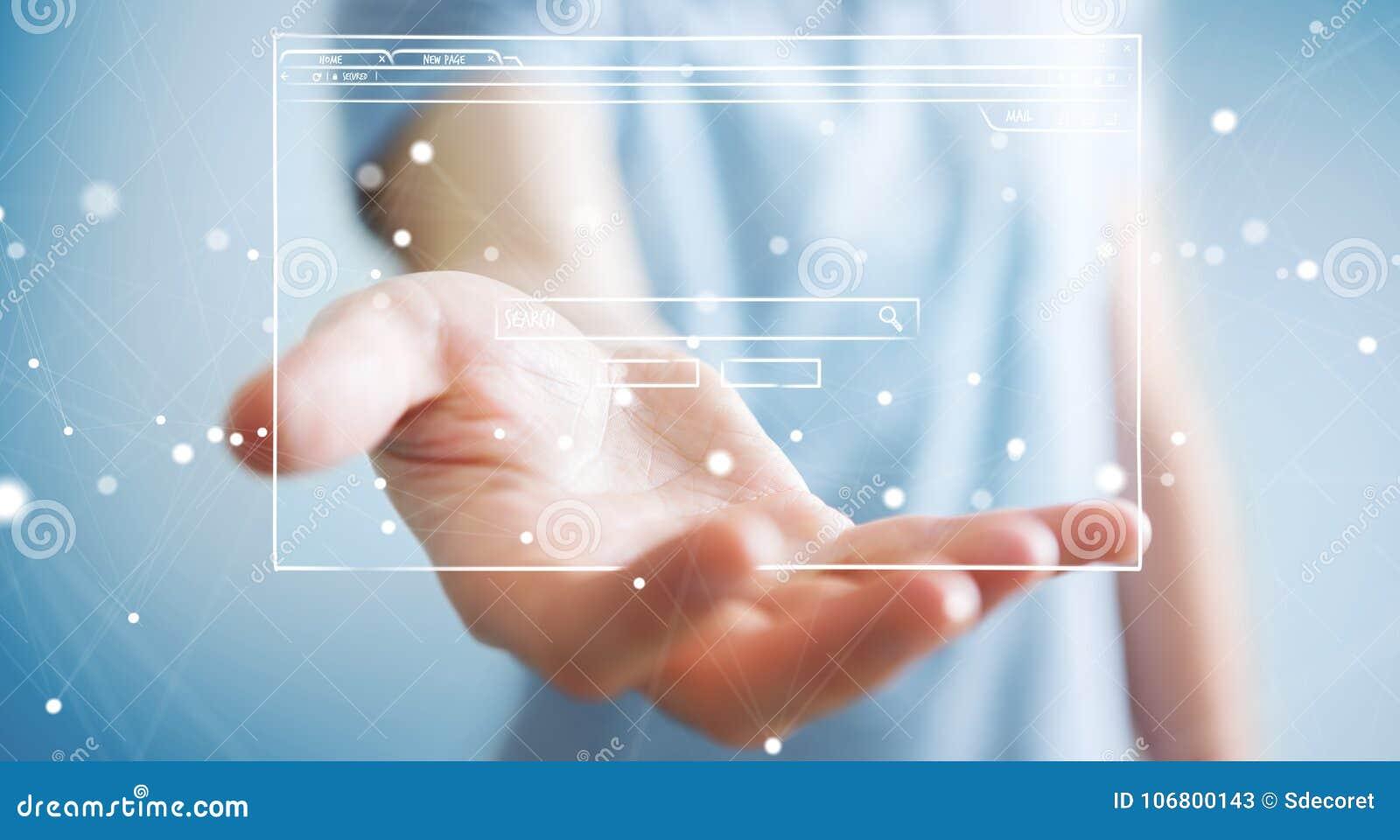 Uomo d affari che tiene e che tocca uno schizzo della pagina del sito Web