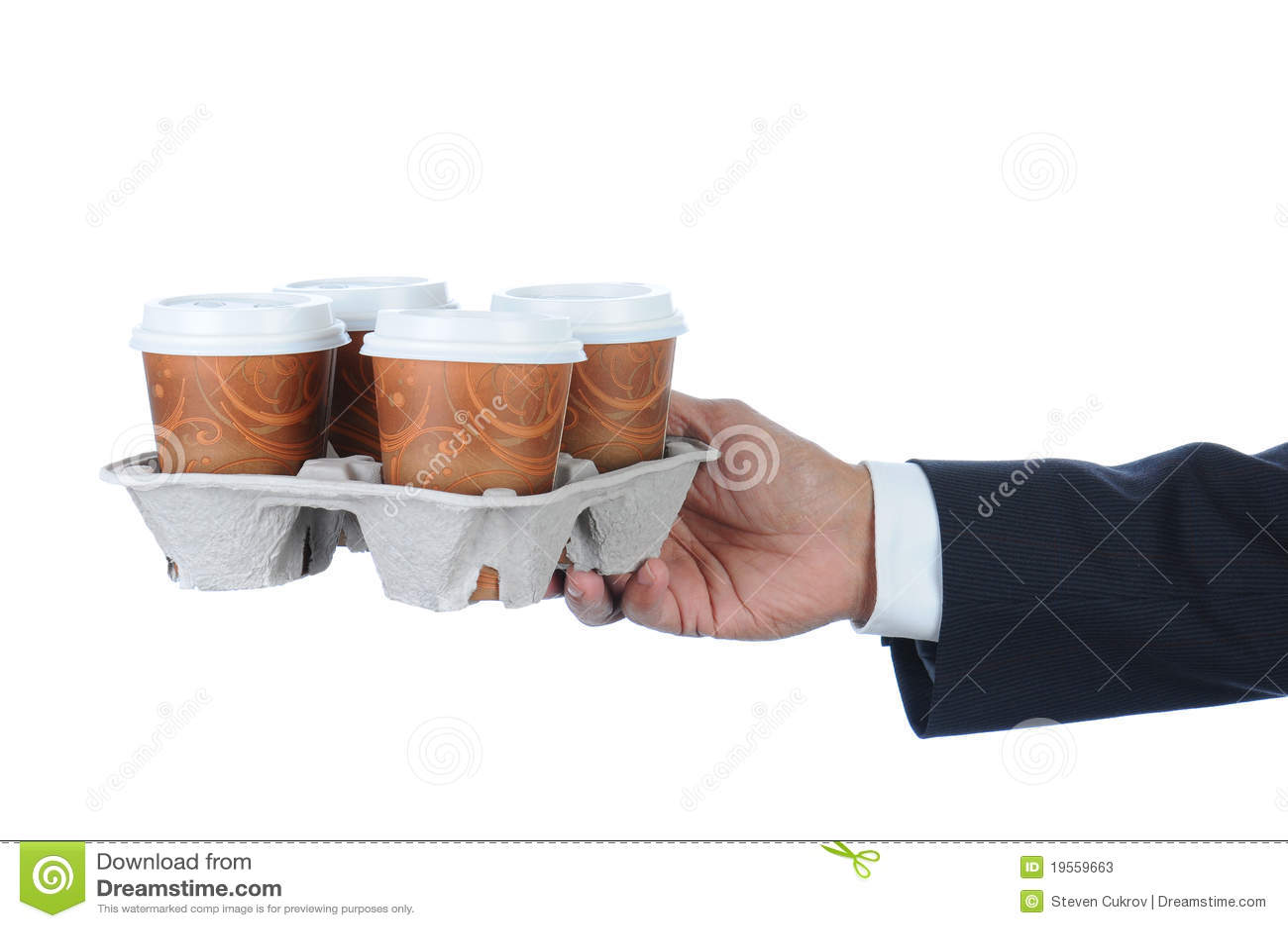 Uomo d affari con il cassetto del caffè