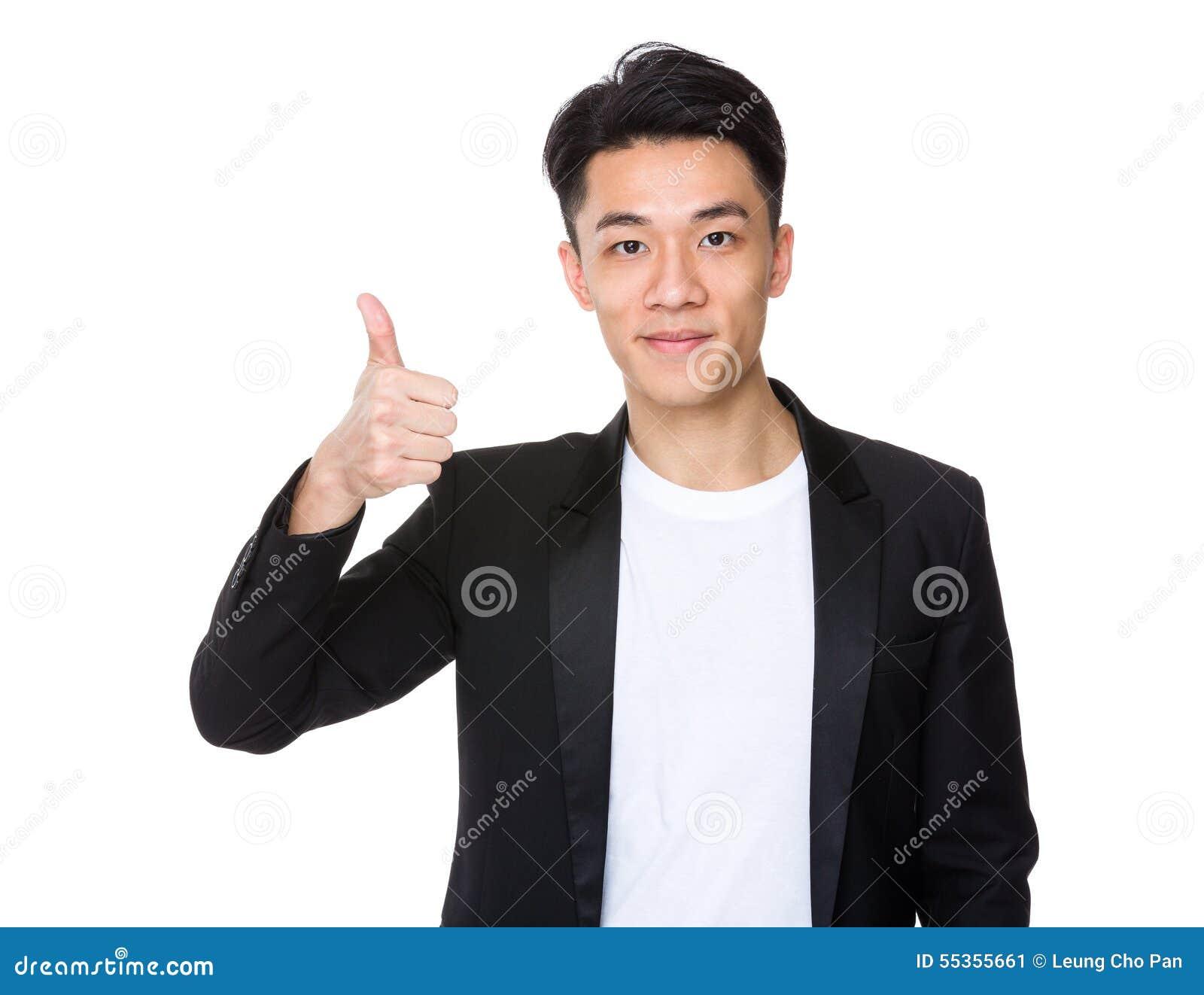 Uomo d affari con il pollice in su