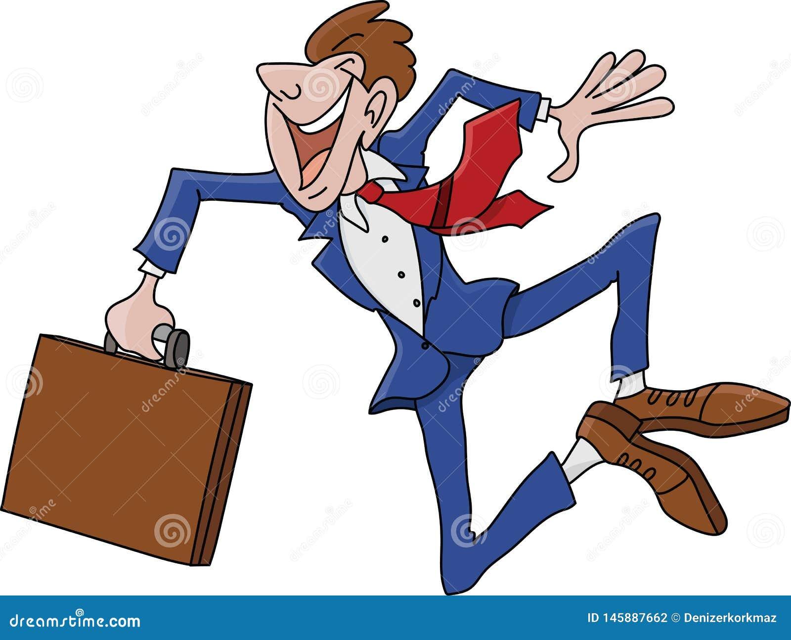 Uomo d affari del fumetto che indossa un vestito che salta nell aria felice di essere vettore promosso