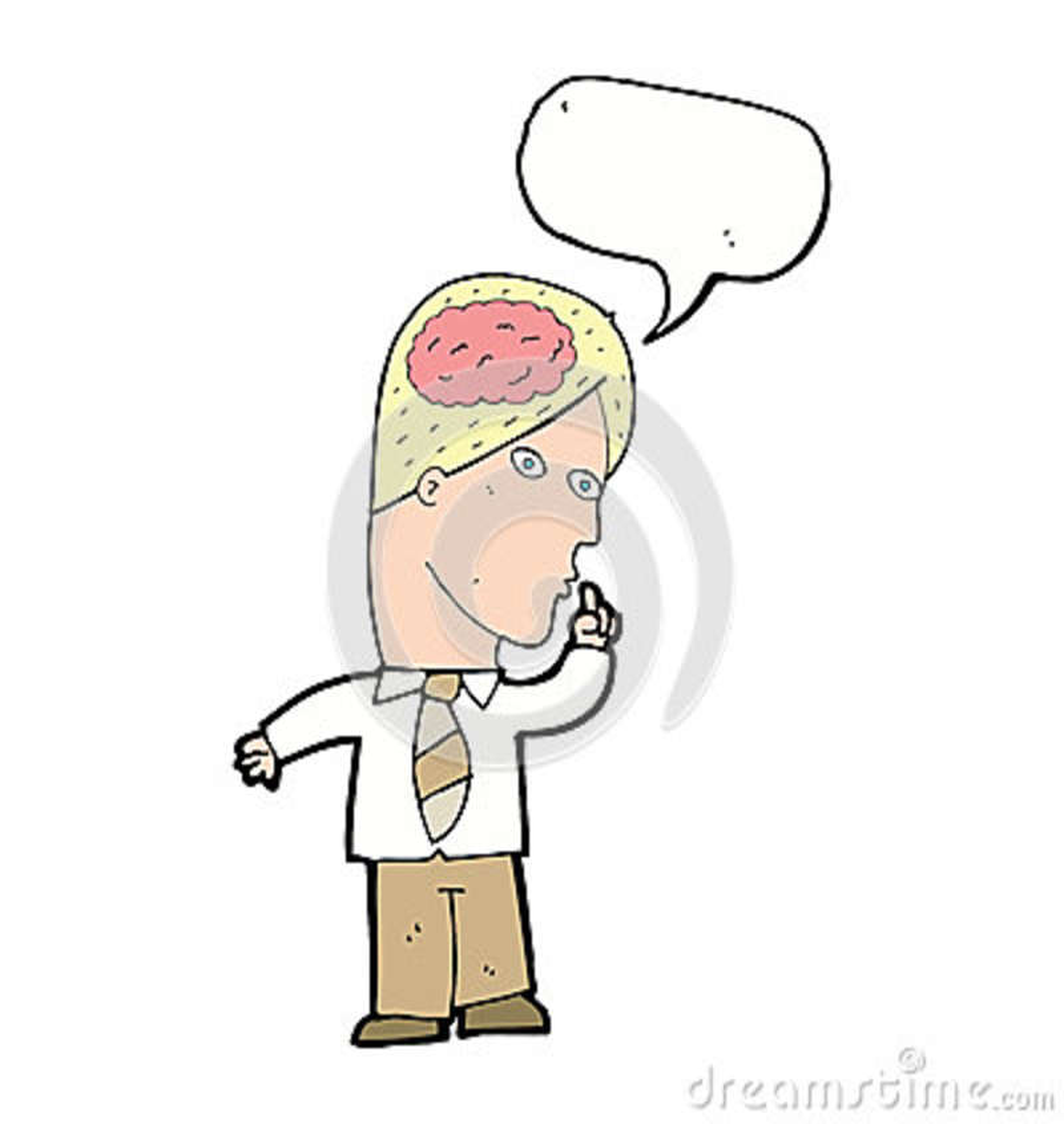 Uomo d affari del fumetto con il cervello enorme con il fumetto