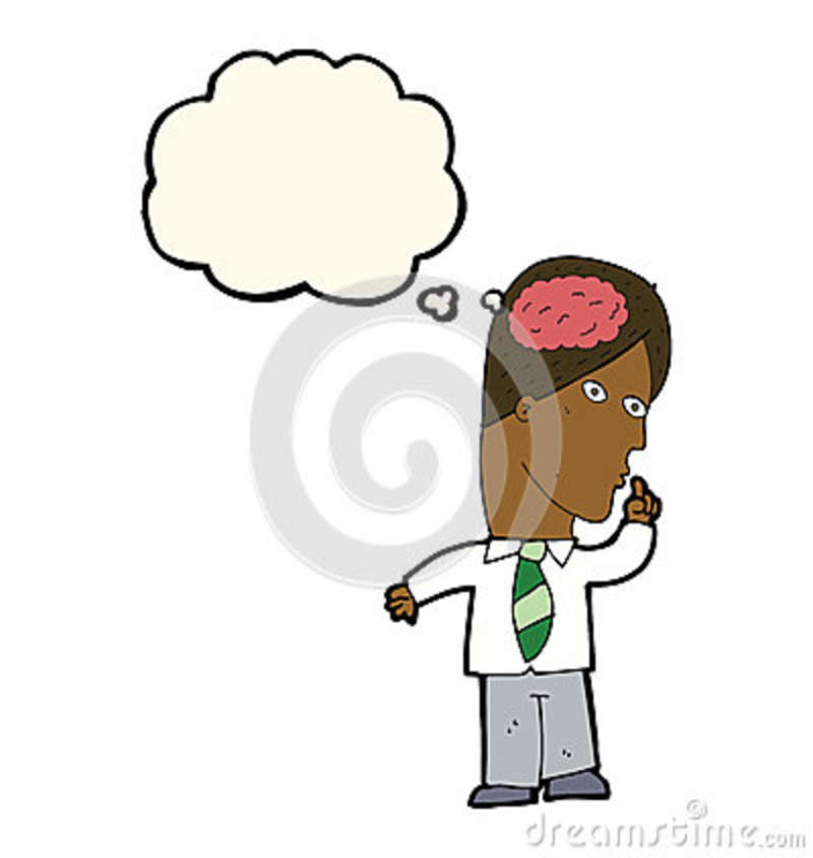 Uomo d affari del fumetto con il cervello enorme con la bolla di pensiero