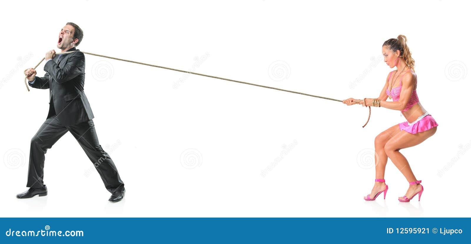Uomo D'affari E Una Donna Attraente Che Tira Una Corda ...