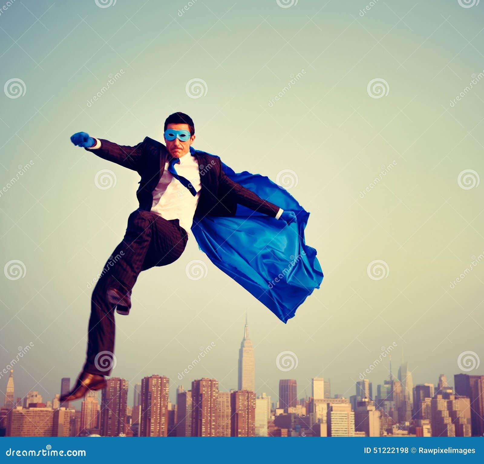Uomo d affari energetico Cityscape Concept del supereroe
