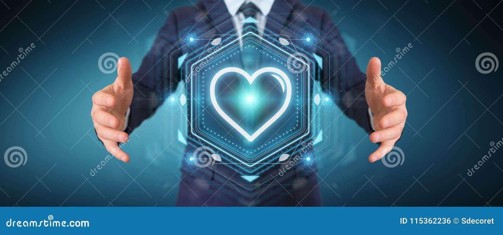 Uomo d affari facendo uso dell applicazione di datazione per trovare amore 3D online per strapparsi
