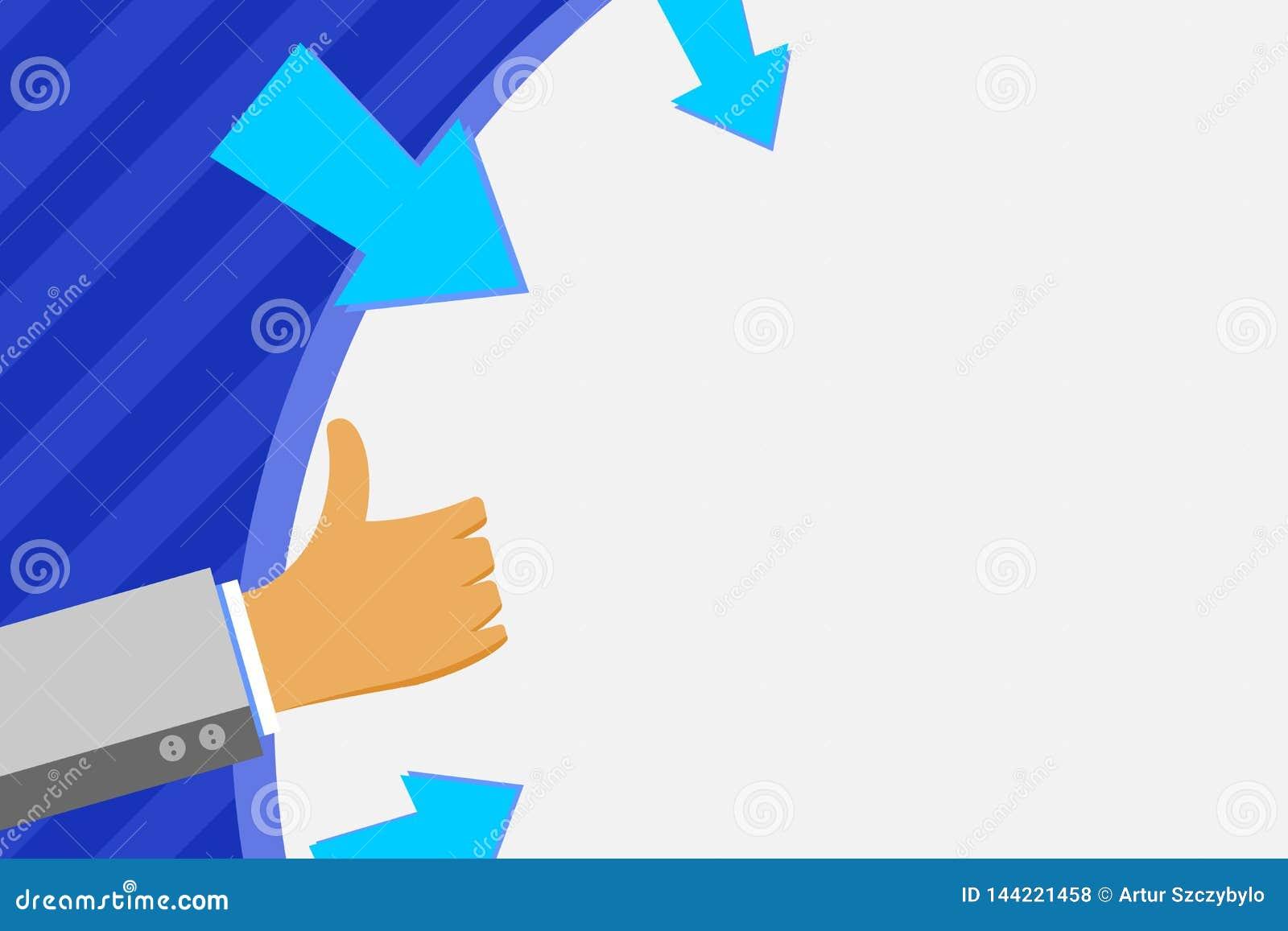 Uomo d affari Hand Holding su forma rotonda dello spazio in bianco enorme con le frecce che indica dentro Uomo che Gesturing i po