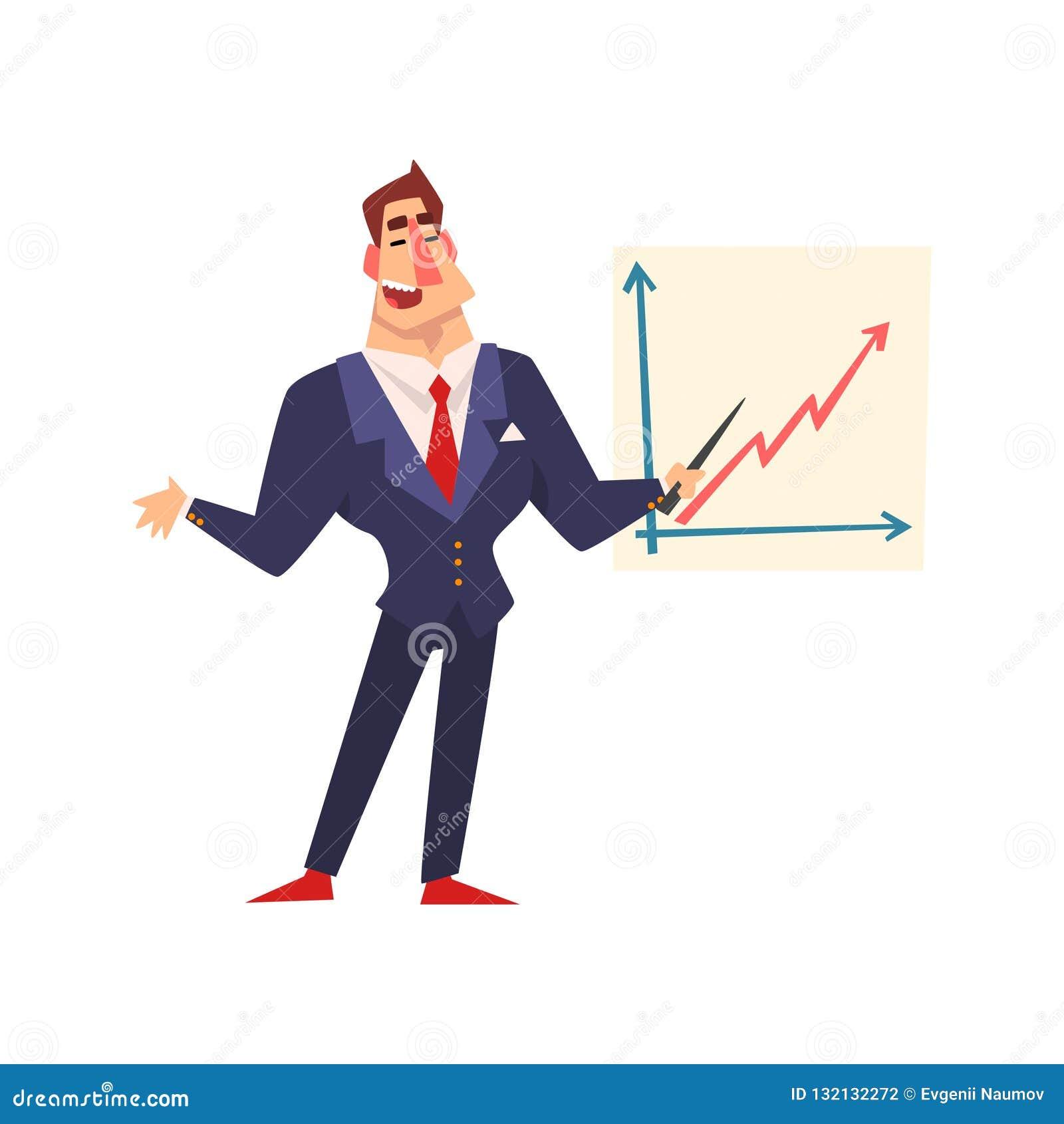Uomo d affari sicuro di sé che indica ad una lavagna con il grafico ad una presentazione, riuscito carattere di crescita di affar