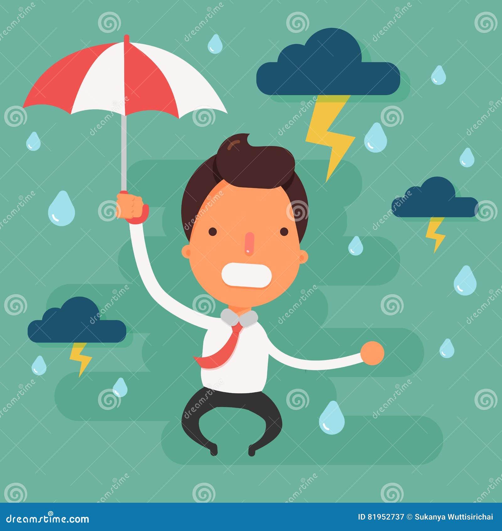Uomo d affari sollecitato con la testa di cui sopra della pioggia della nuvola nera