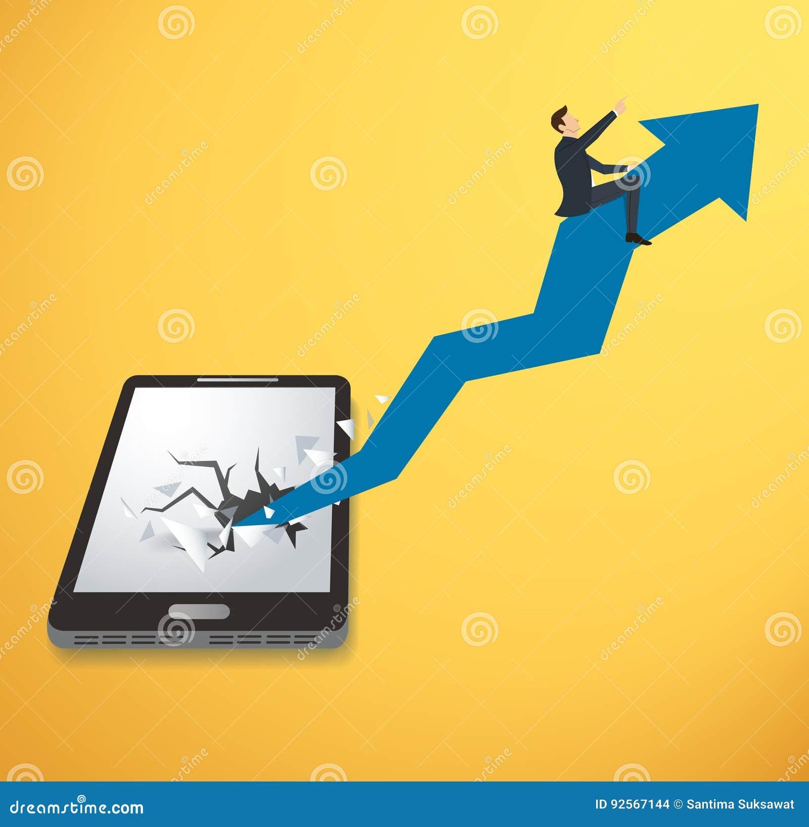 Uomo d affari sull icona della freccia che attraversa il fondo di vettore dello smartphone Illustrazione di concetto di affari