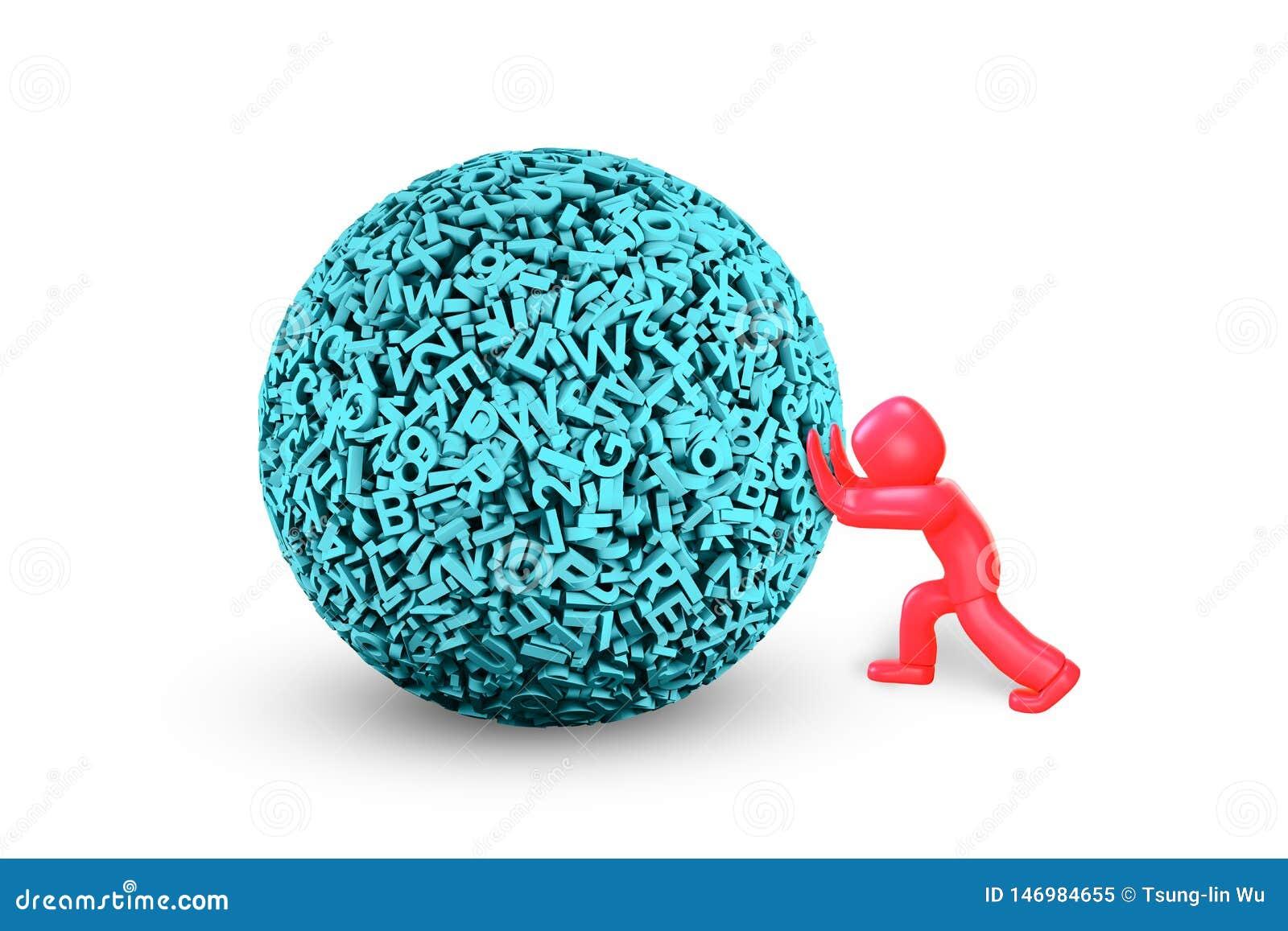 Uomo 3D che spinge la grande palla di dati illustrazione 3D