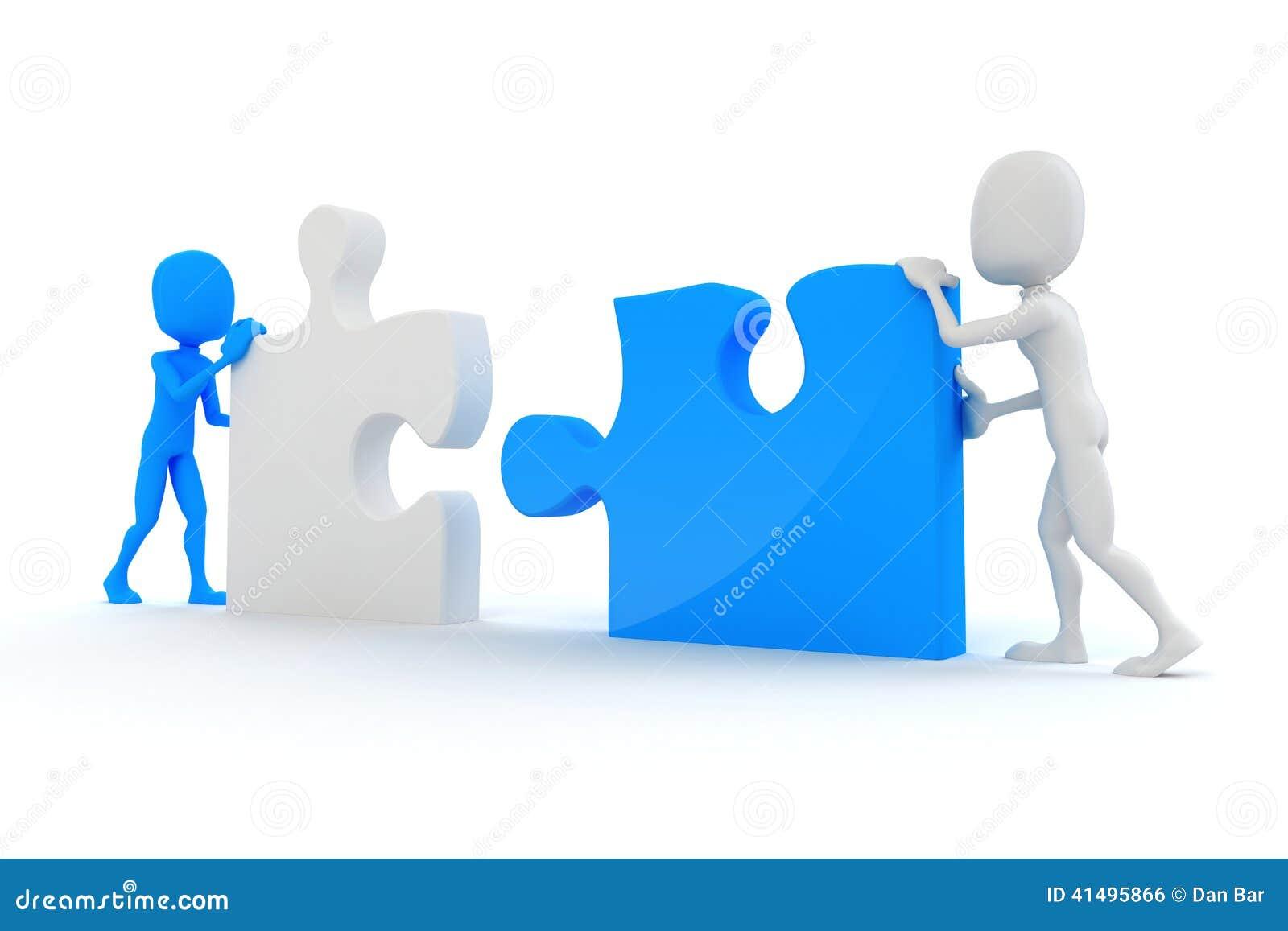 Uomo 3d che unisce due pezzi di puzzle illustrazione di - Collegamento stampabile un puzzle pix ...