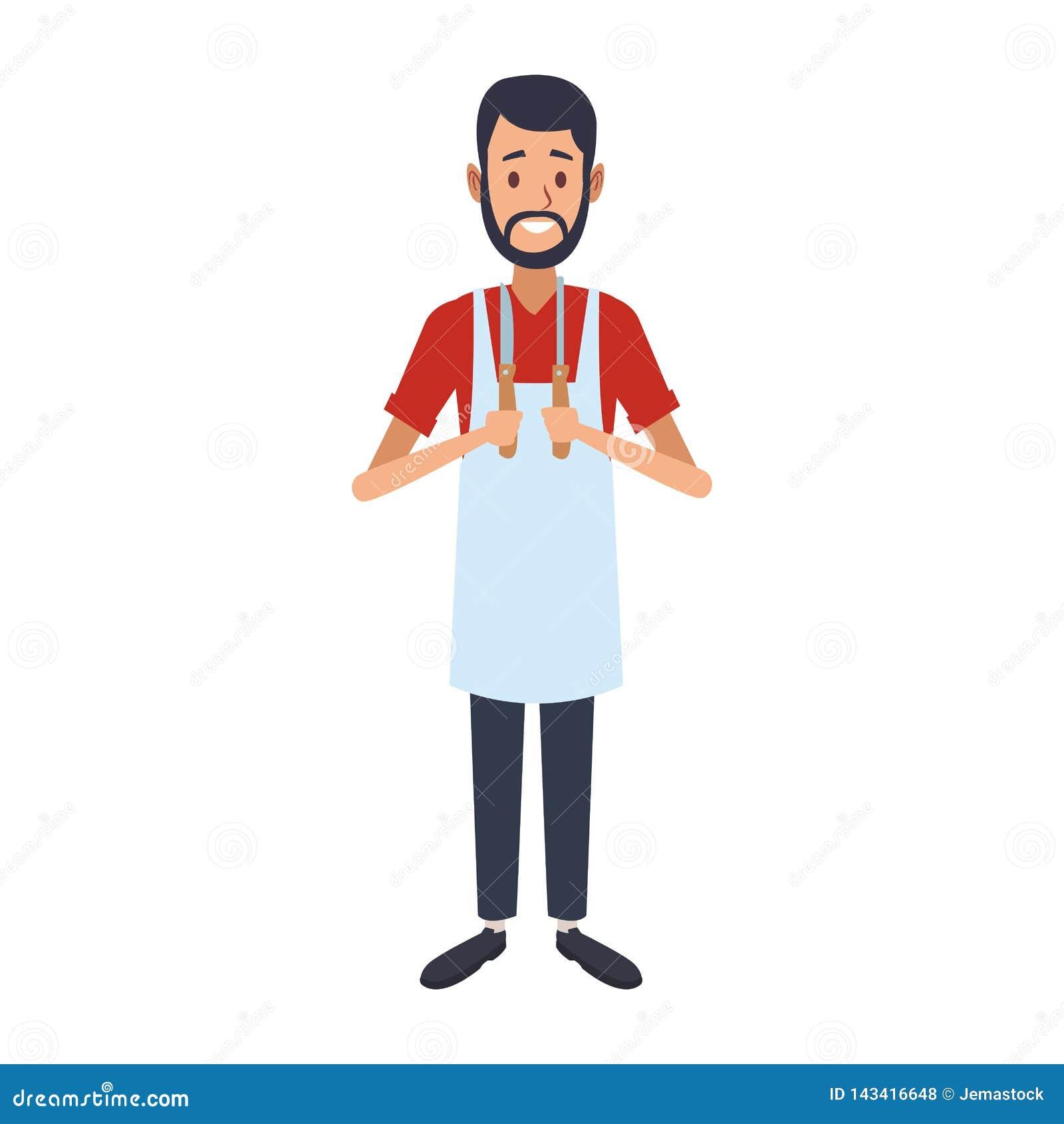 Uomo del fornello con gli utensili