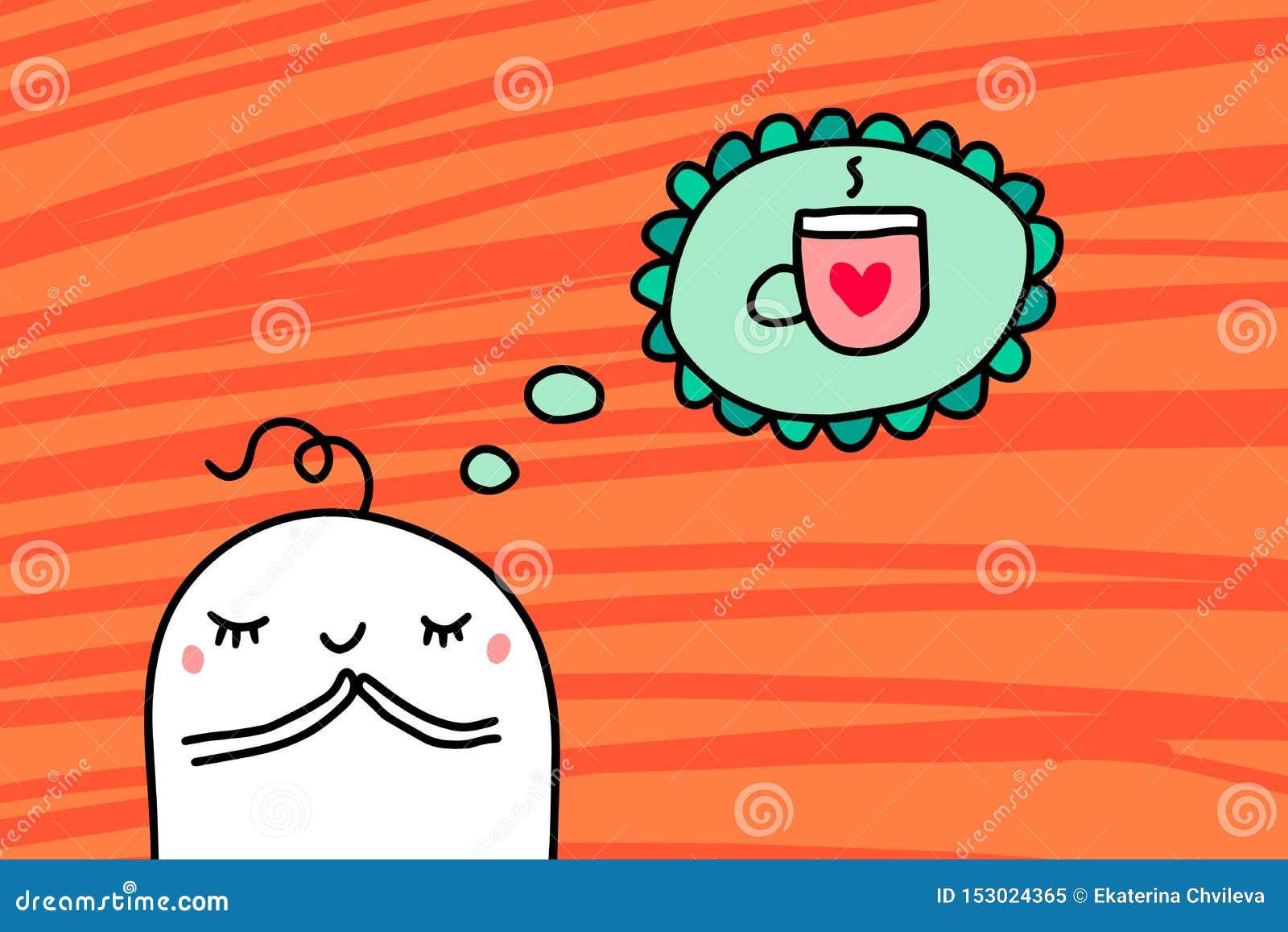 Uomo del fumetto che sogna della tazza dell illustrazione disegnata a mano di vettore del caffè caldo su fondo strutturato aranci