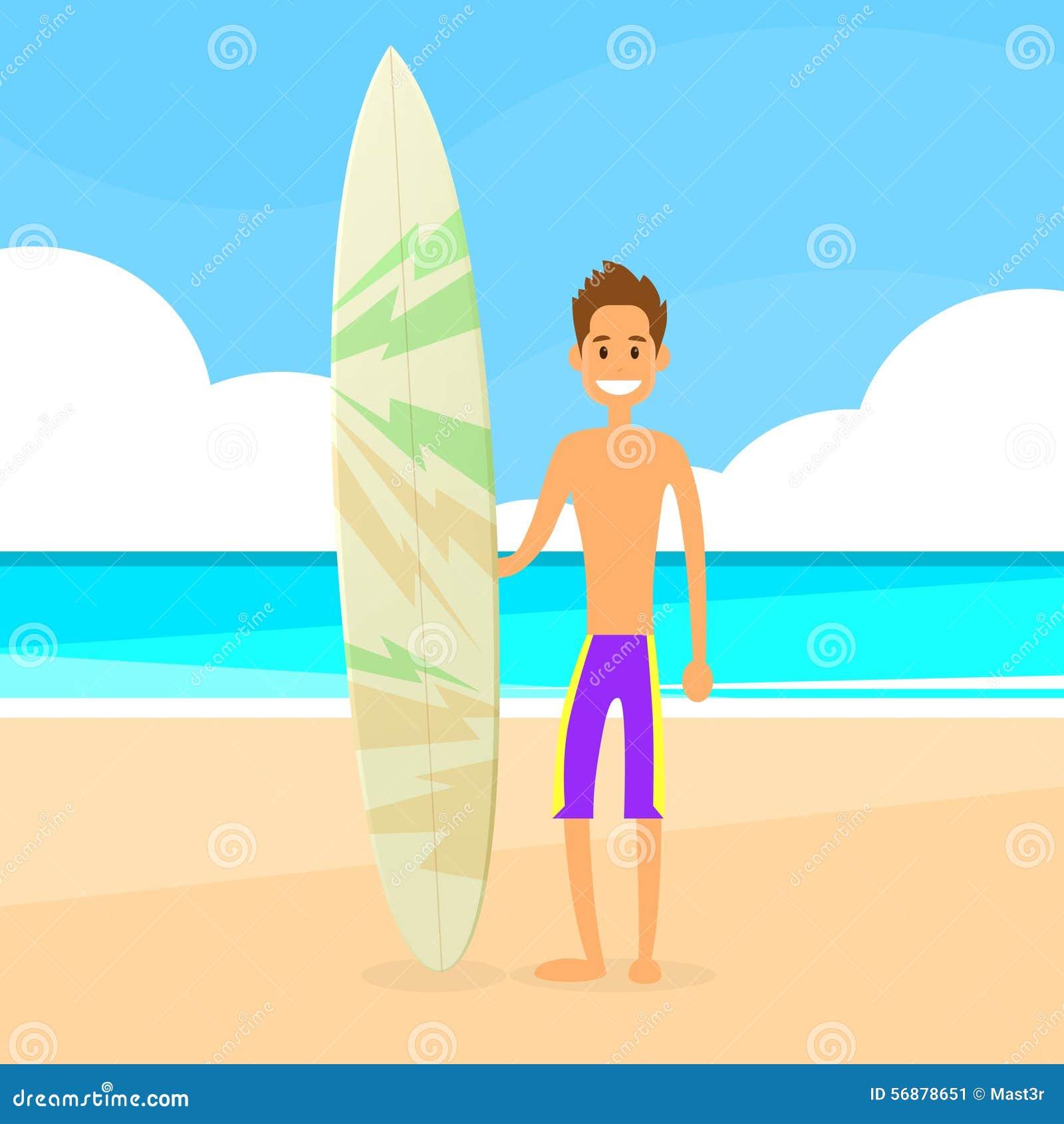 Uomo del surfista con la vacanza estiva del bordo praticante il surfing