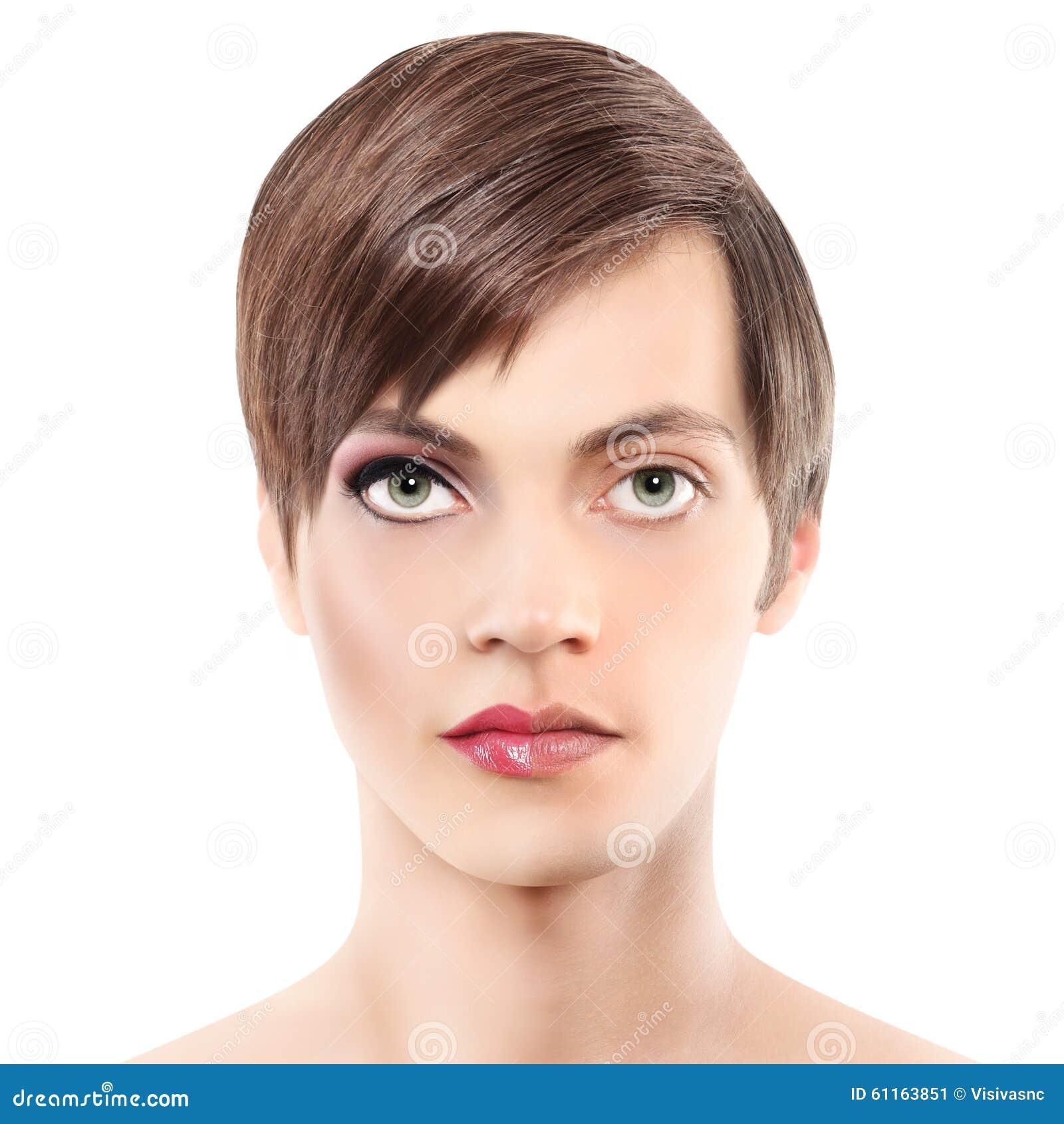 Uomo della mezza donna del ritratto mezzo, concetto di androginia