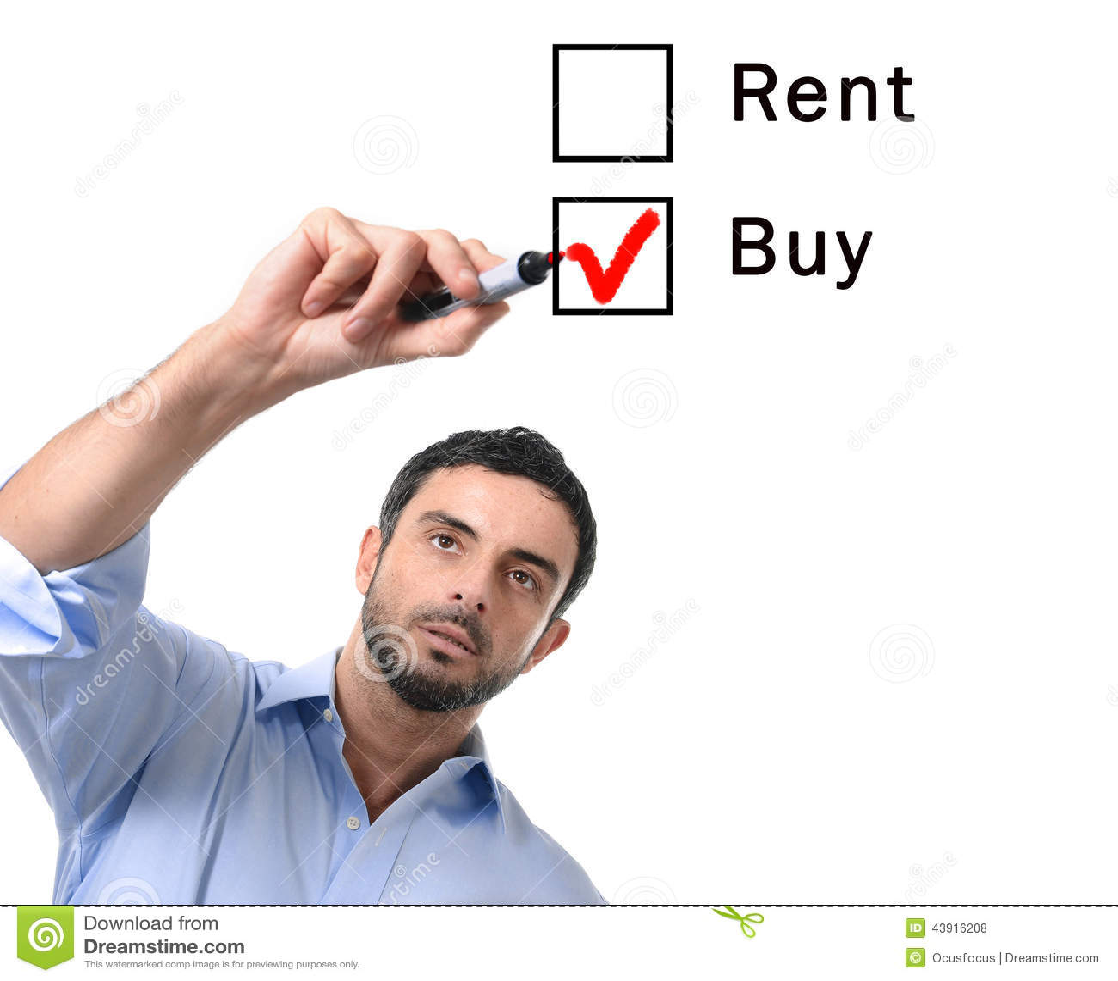 Uomo di affari che sceglie opzione dell affare o di affitto al concetto del bene immobile di formular