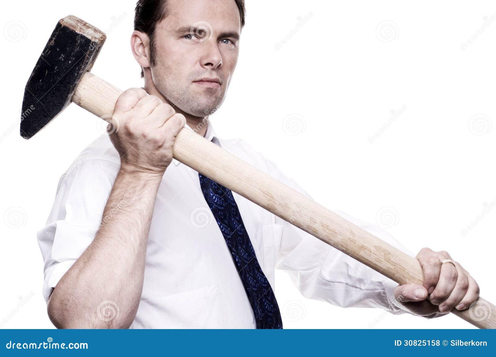 Uomo di affari con la mazza