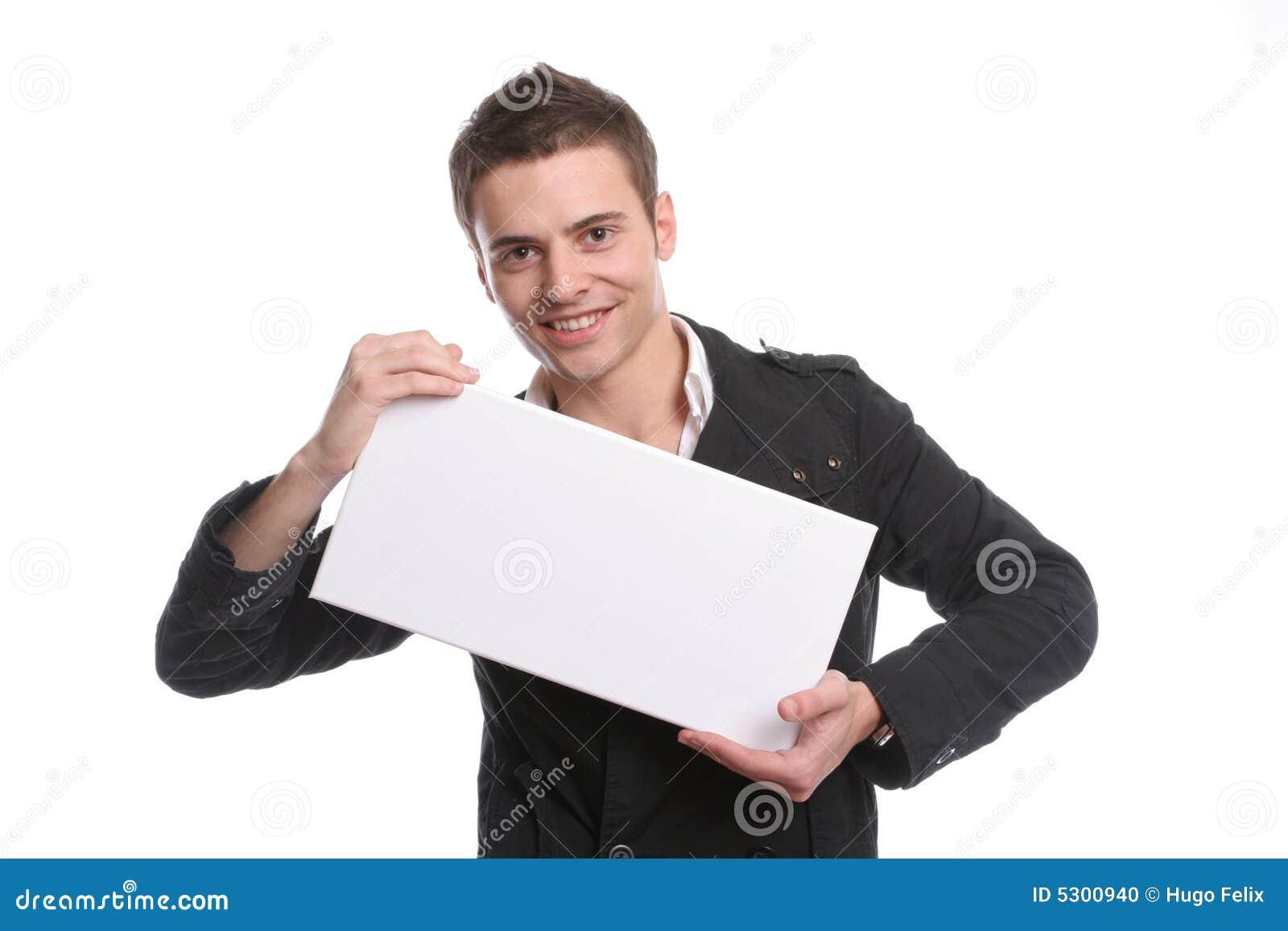 Download Uomo Di Affari Con Una Scheda Bianca Vuota Fotografia Stock - Immagine di aggiunga, cooperazione: 5300940