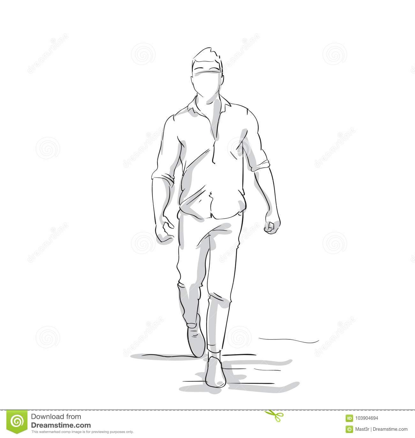 Uomo di affari della siluetta che fa l uomo d affari Full Length Figure di schizzo di passo avanti sul fondo bianco