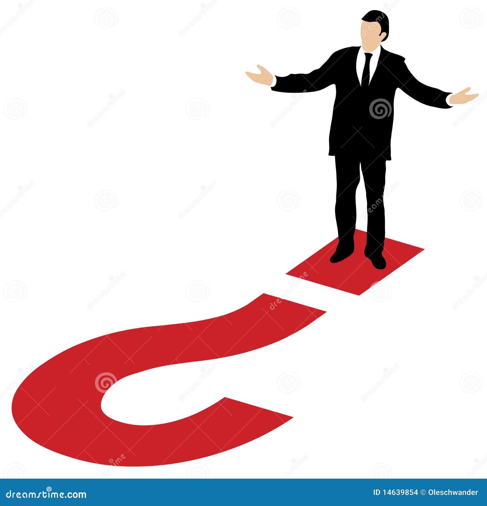 Uomo di affari e grande punto interrogativo rosso