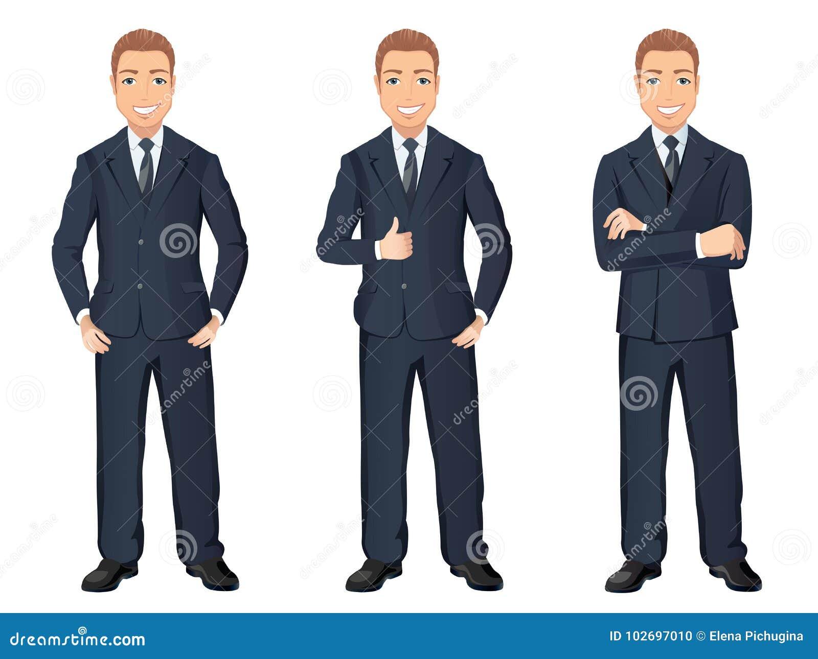 il più votato a buon mercato informazioni per New York Uomo Di Affari In Vestito Blu Scuro Nelle Pose Differenti Uomo ...