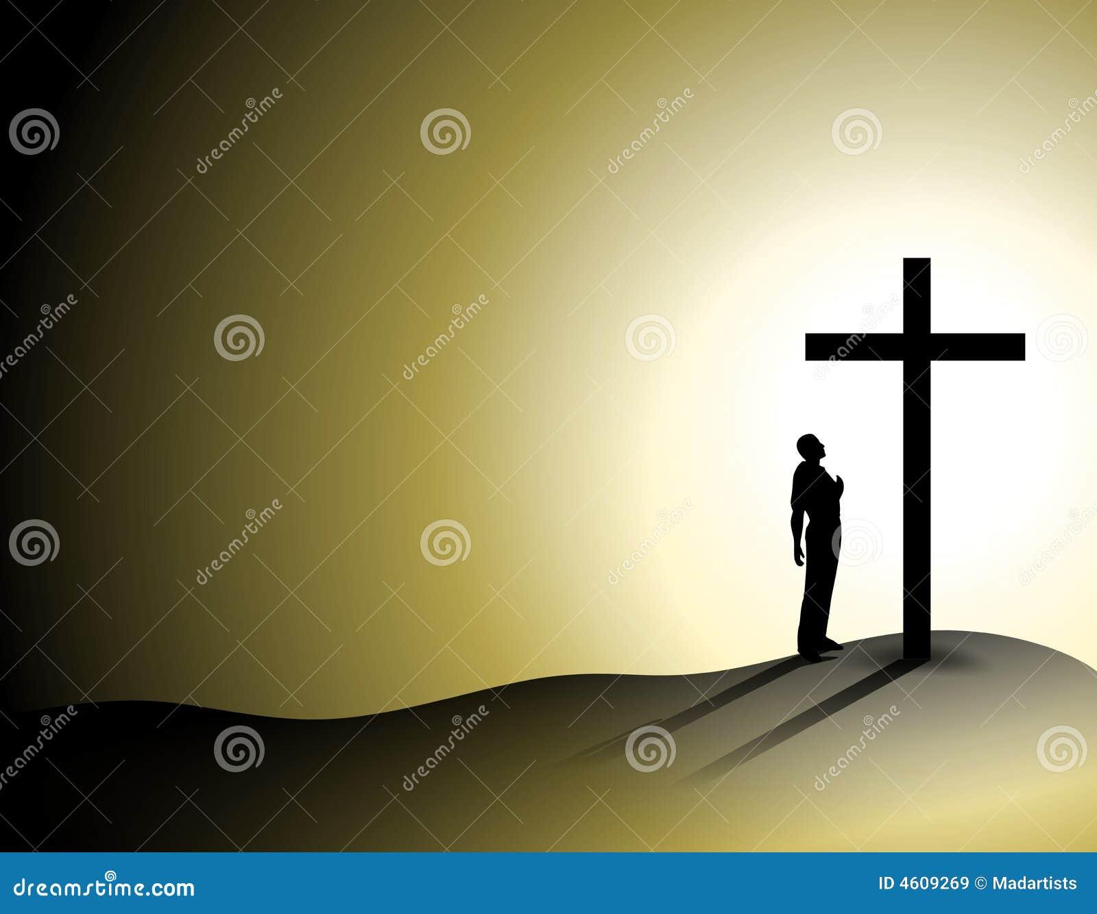 uomo di fede da solo con la traversa illustrazione di