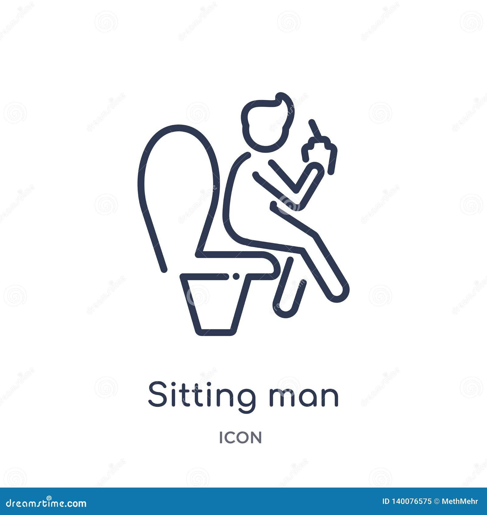 Uomo di seduta che beve un icona della soda dalla raccolta del profilo della gente Linea sottile uomo di seduta che beve un icona