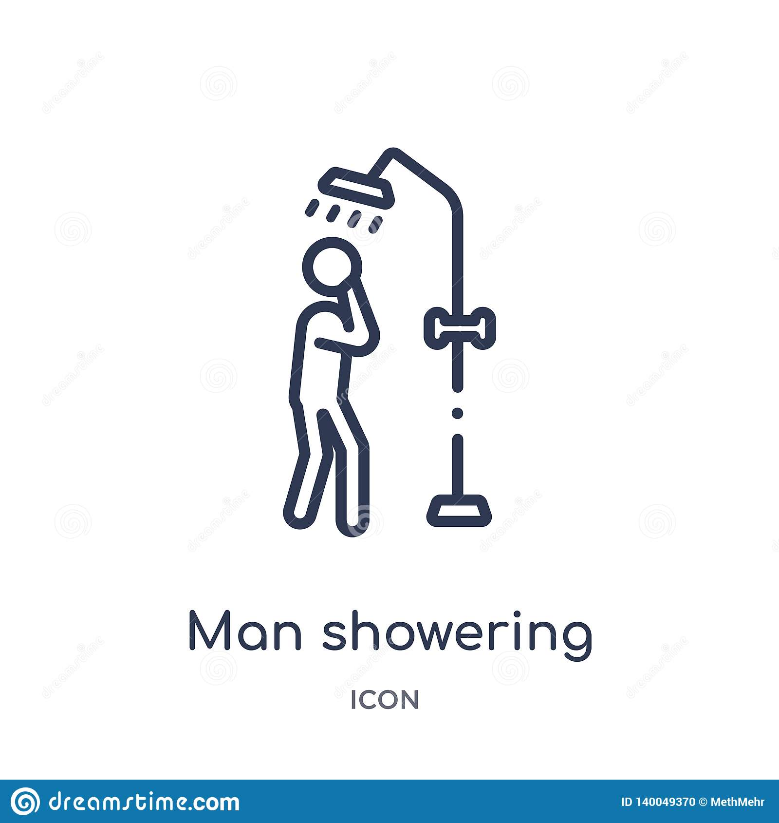 Uomo lineare che inonda icona dalla raccolta del profilo di comportamento Linea sottile vettore d inondazione dell uomo isolato s