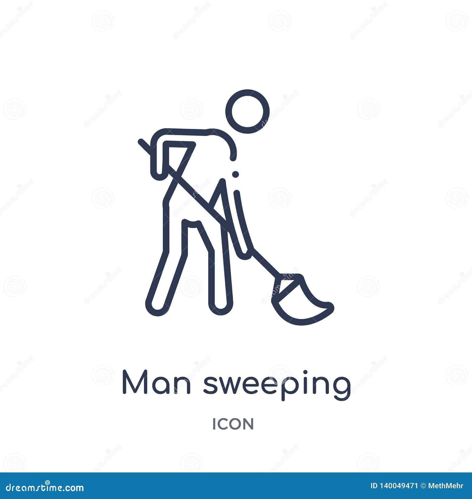 Uomo lineare che spazza icona dalla raccolta del profilo di comportamento Linea uomo sottile che spazza vettore isolato su fondo