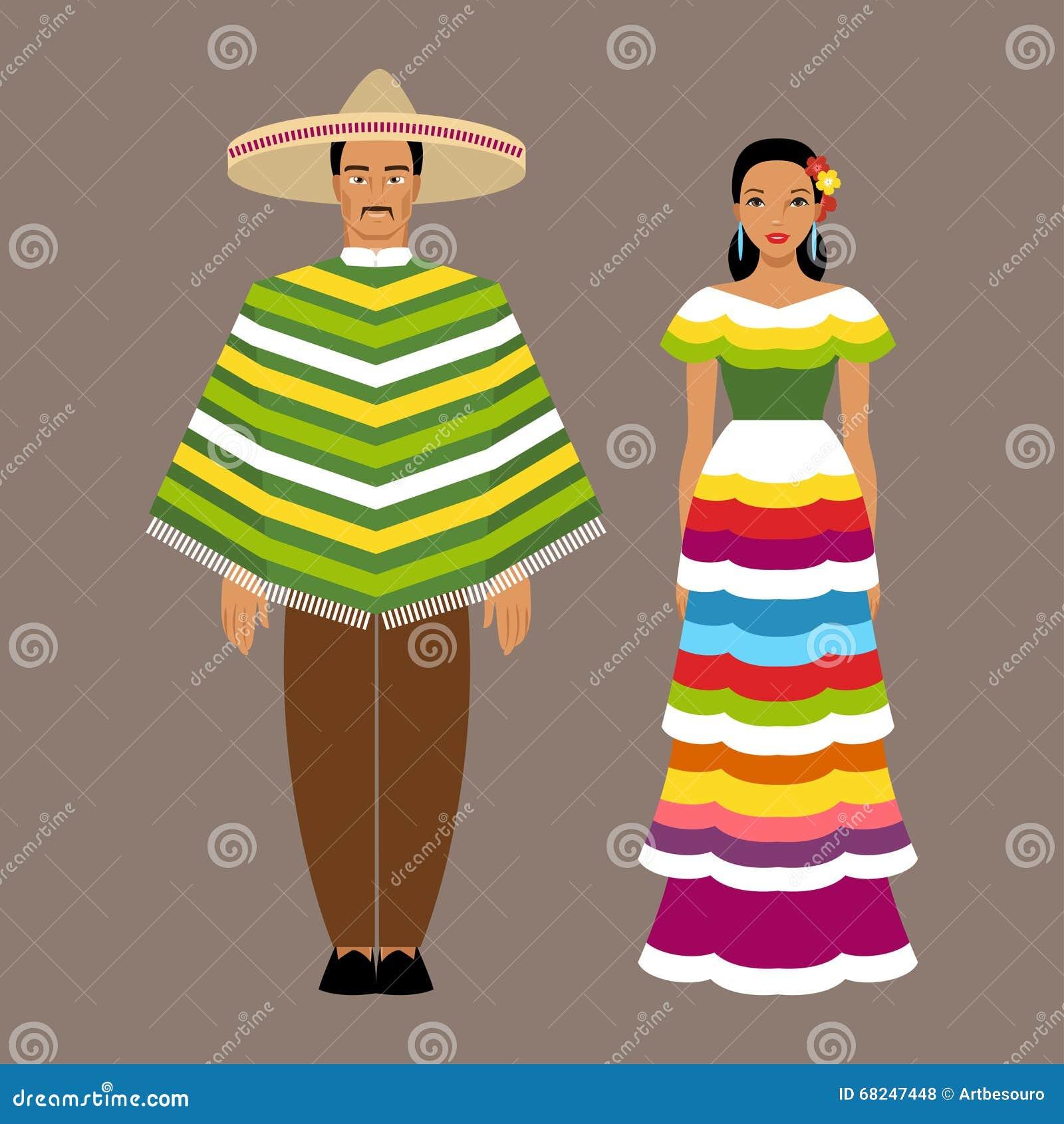 Vettoriale Messicana In Famiglia Vestiti Tradizionali Illustrazione O8FTBqB0P
