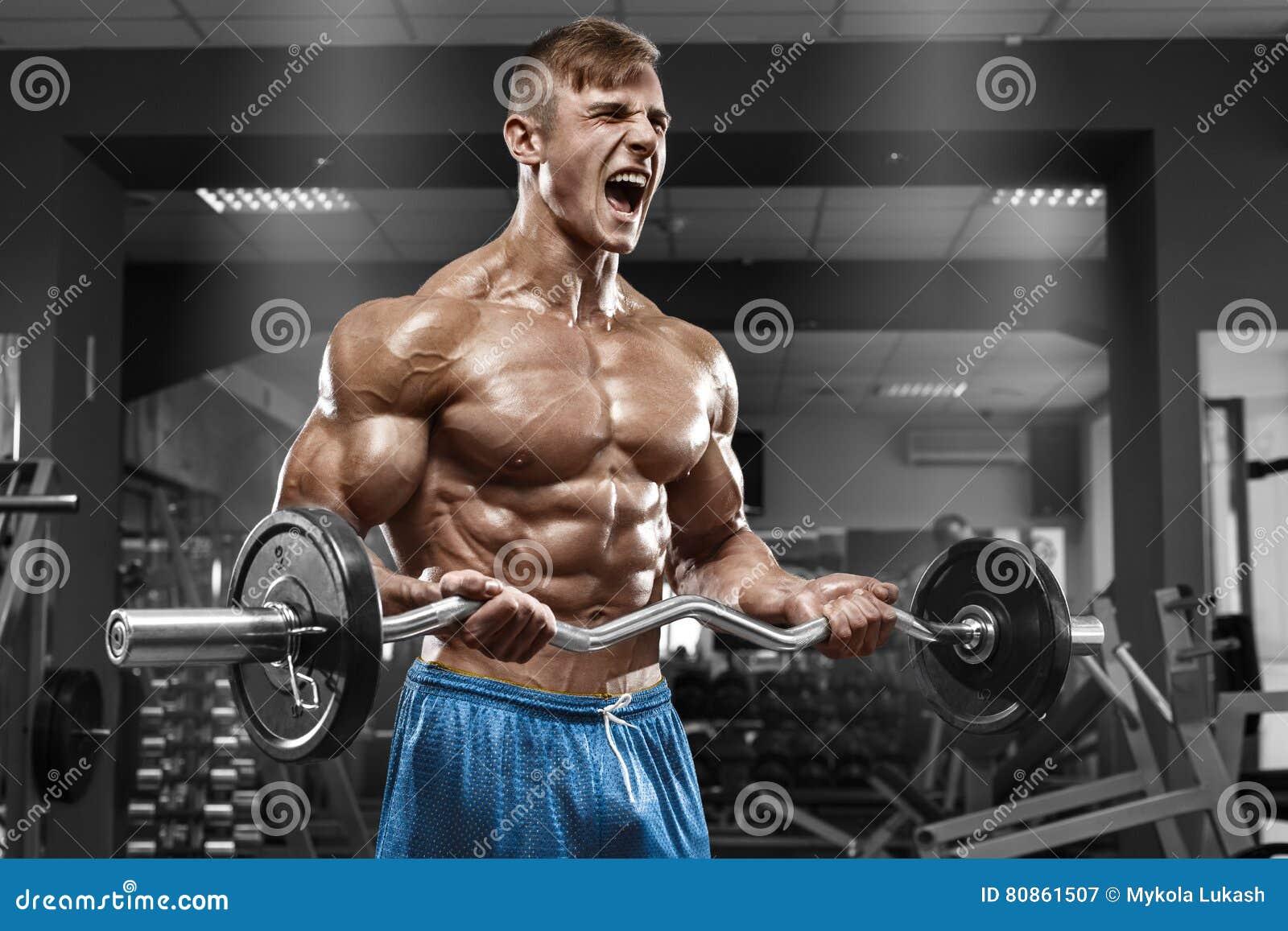 Uomo muscolare che risolve nella palestra che fa gli esercizi con il bilanciere al bicipite, forte ABS nudo maschio del torso